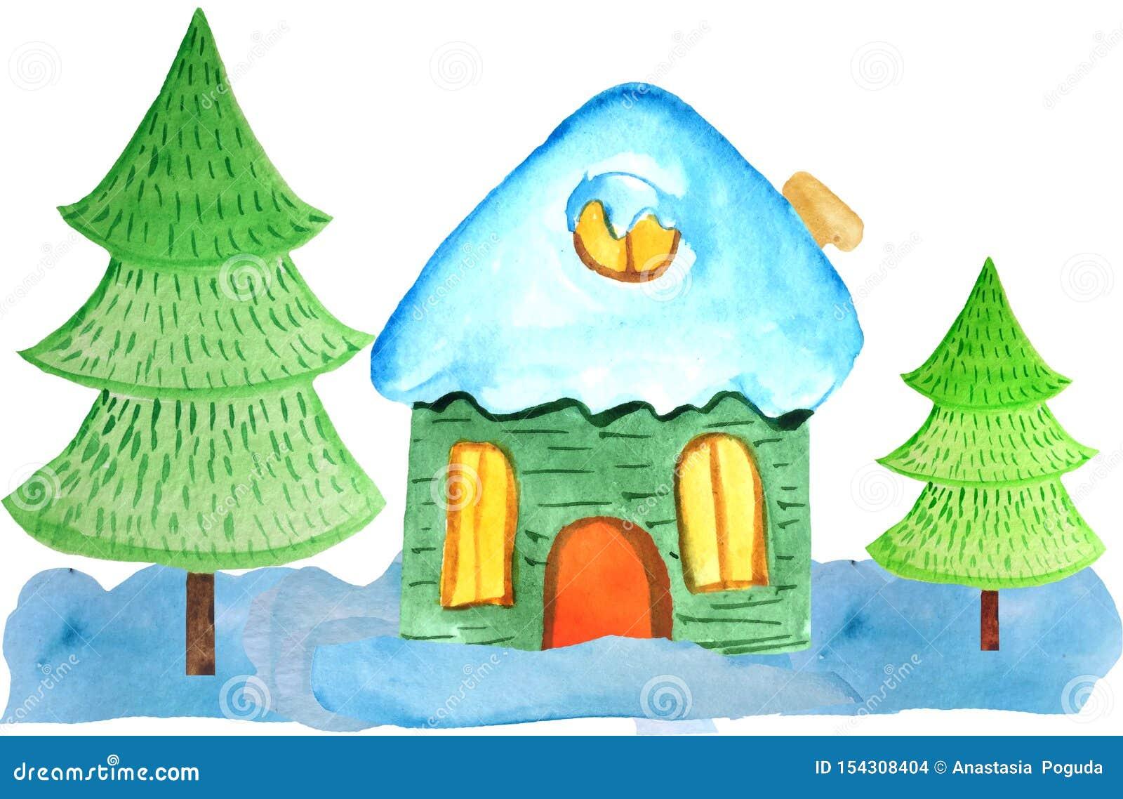 随风飘飞的雪和两棵树的舒适动画片圣诞节房子在白色背景 海报的,横幅水彩例证