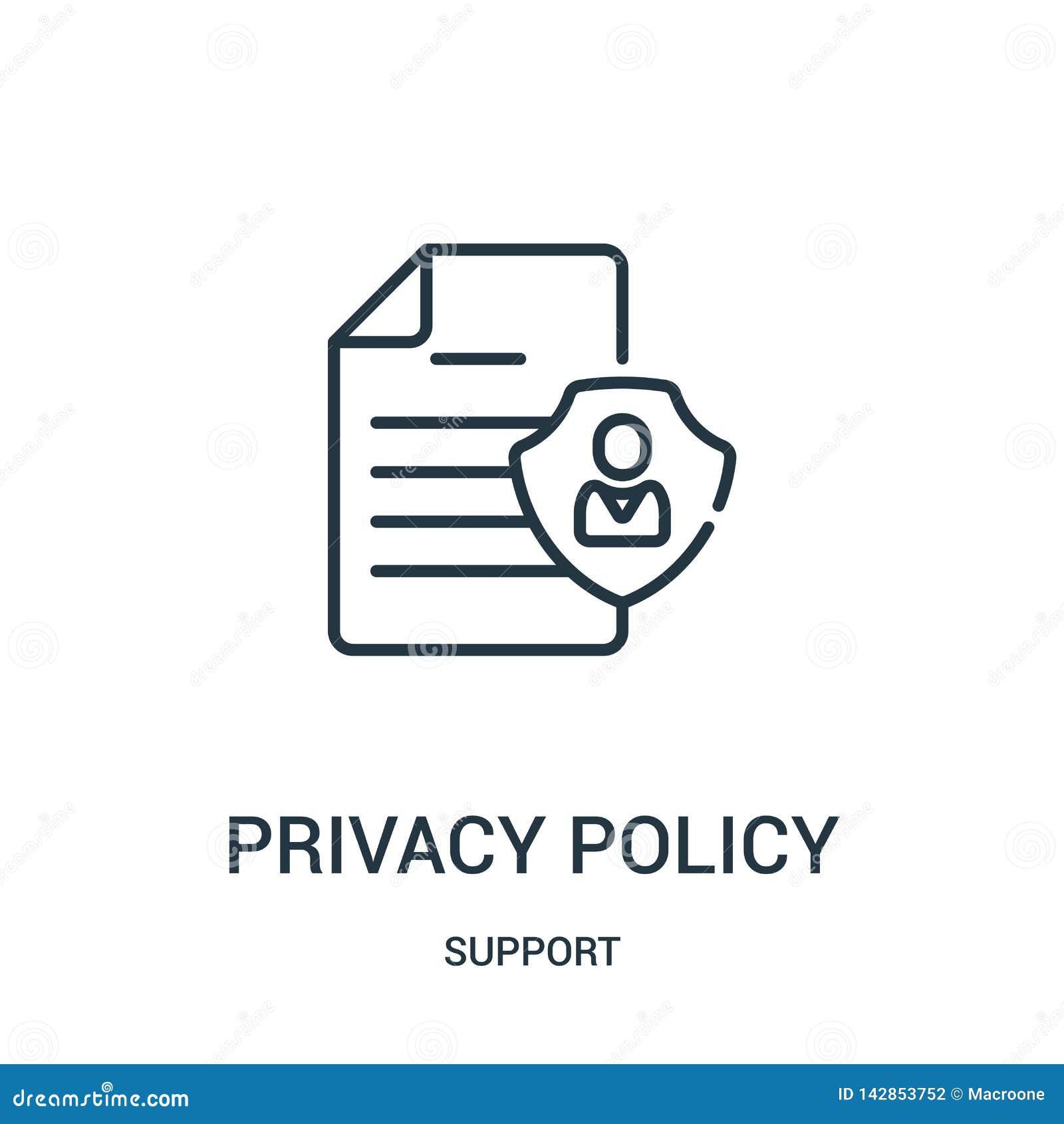 隐私权政策从支持汇集的象传染媒介 稀薄的线隐私权政策概述象传染媒介例证 线性标志为