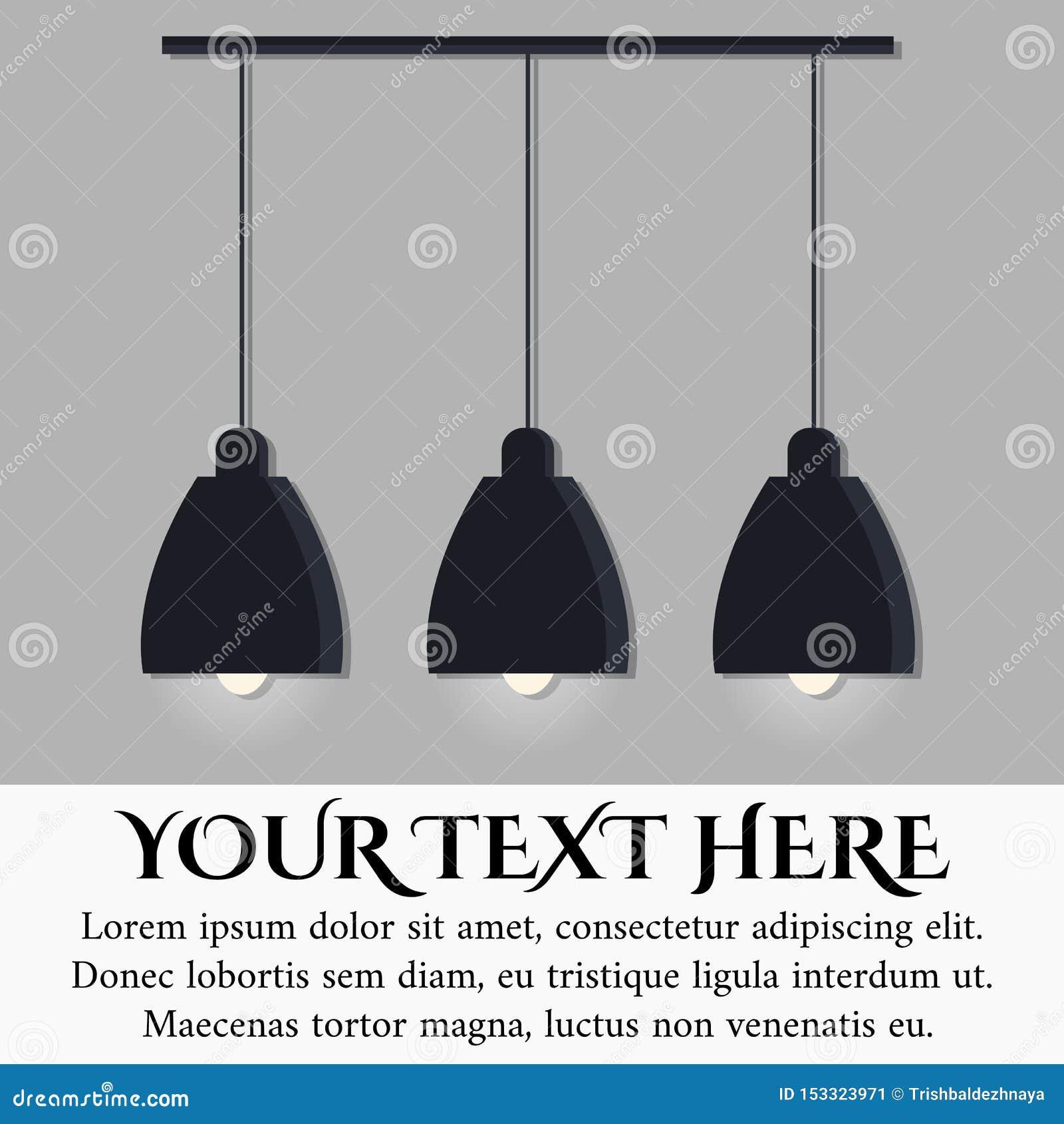 隔绝在灰色有三个发光的电灯泡的墙壁背景黑现代斯堪的纳维亚样式灯
