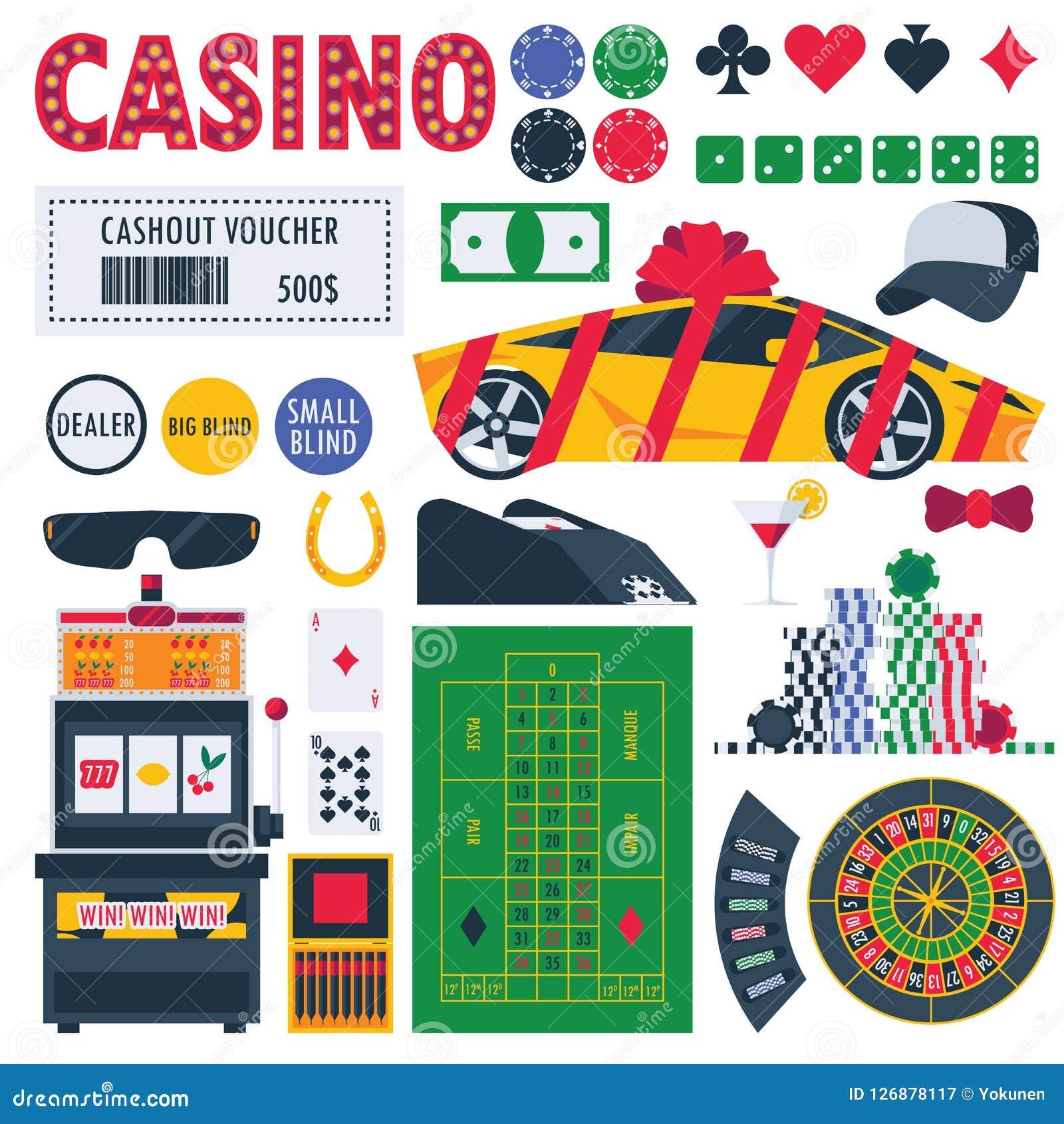 隔绝在白色赌博娱乐场设备作为赌博的轮盘赌、pocker桌、奖作为汽车和金钱 赌注比赛对象