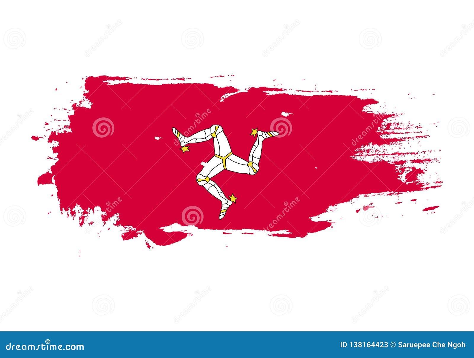 难看的东西与曼岛国旗的刷子冲程 水彩绘画旗子 标志,海报,横幅 在白色查出的向量