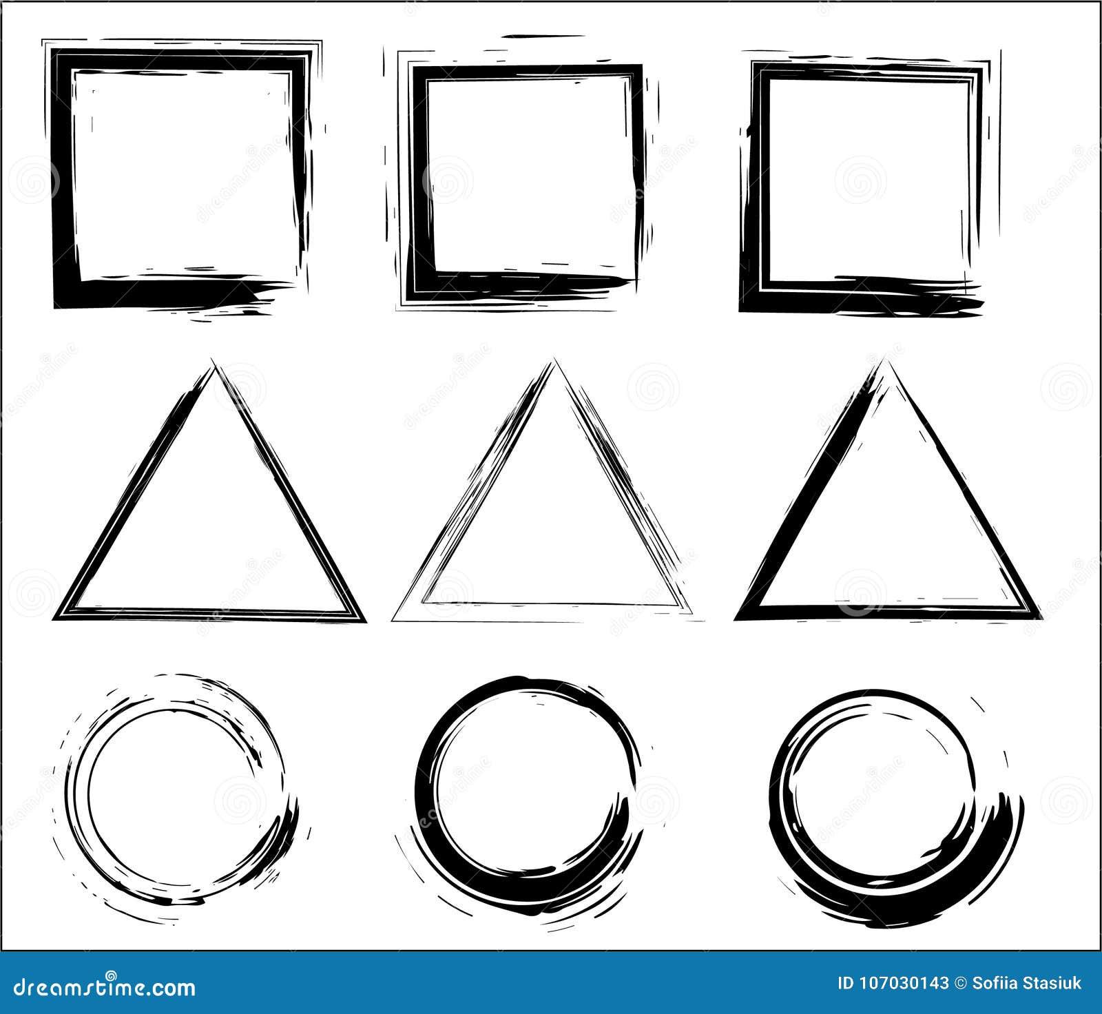 难看的东西传染媒介圈子、三角和长方形 电刷组冲程