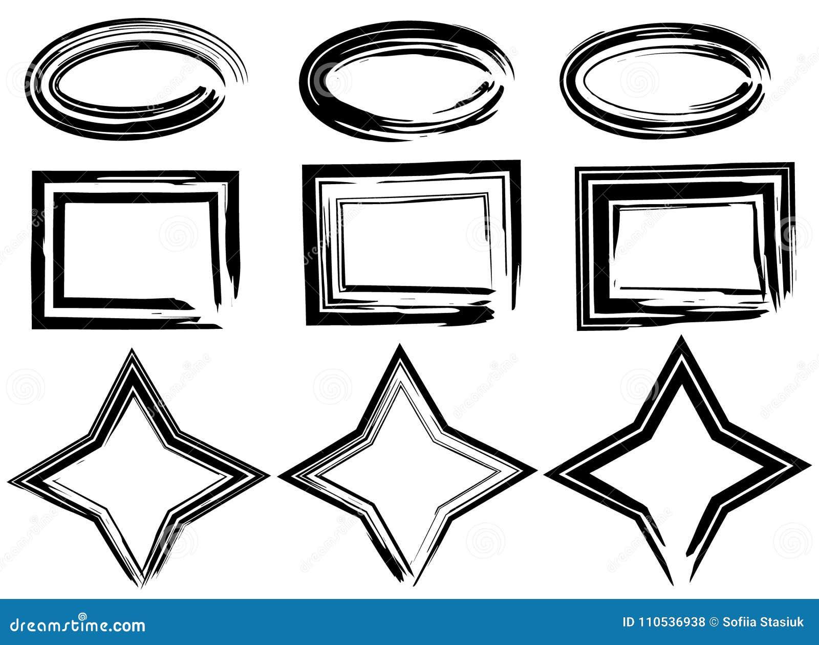 难看的东西传染媒介长圆形、星和长方形 电刷组冲程