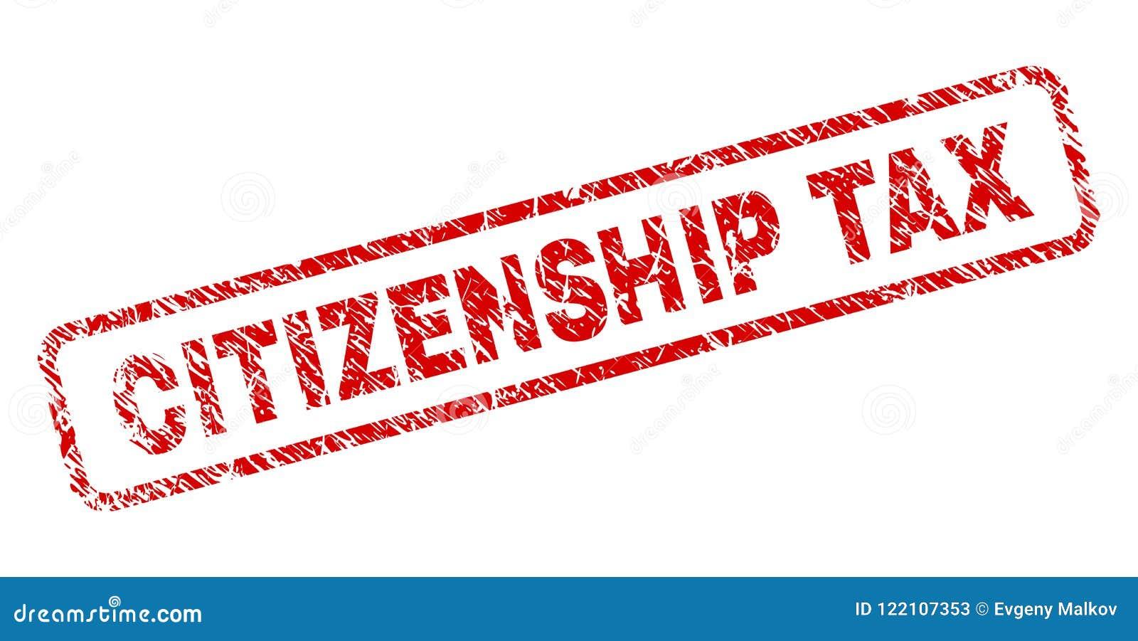 难看的东西公民身份税环绕了长方形邮票