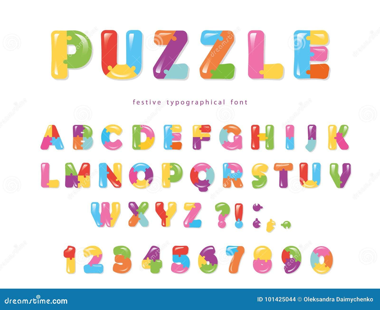 难题字体 ABC五颜六色的创造性的信件和数字