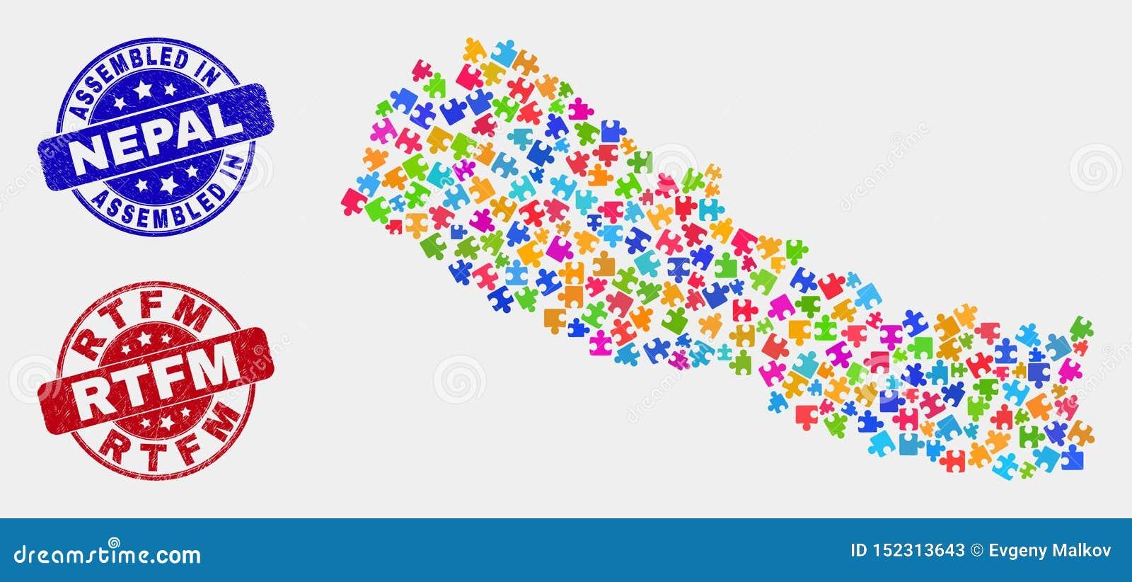 难题尼泊尔地图和抓被装配的和Rtfm封印