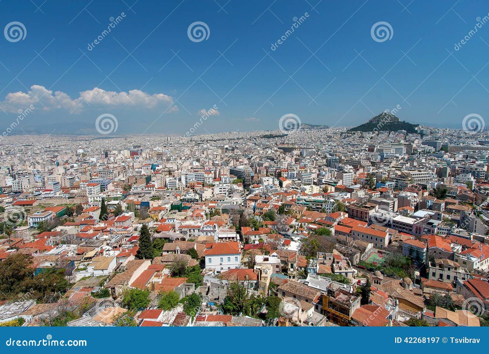 雅典和Lykavitos小山从上城,雅典,希腊