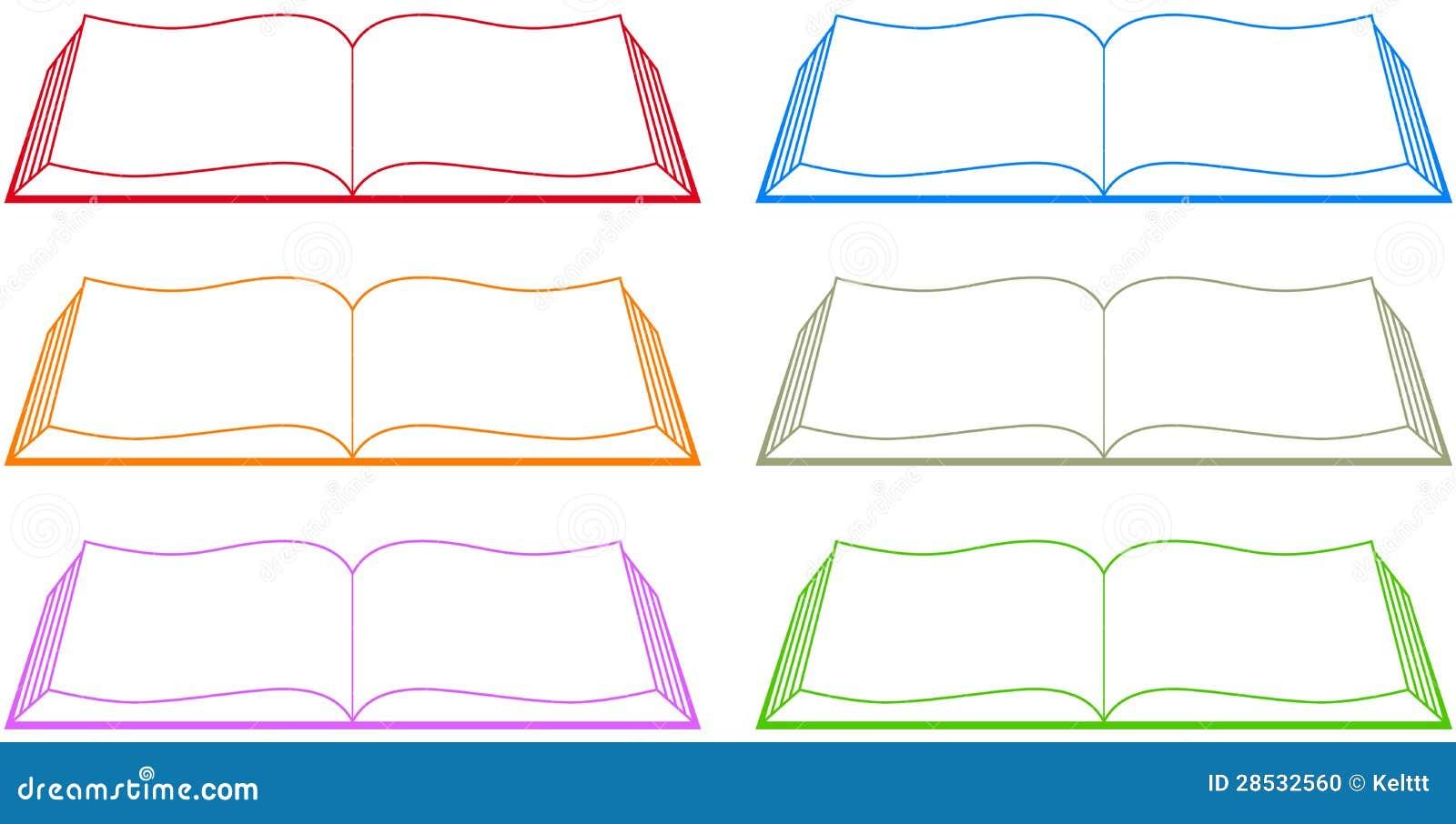设置查出的五颜六色的书剪影.