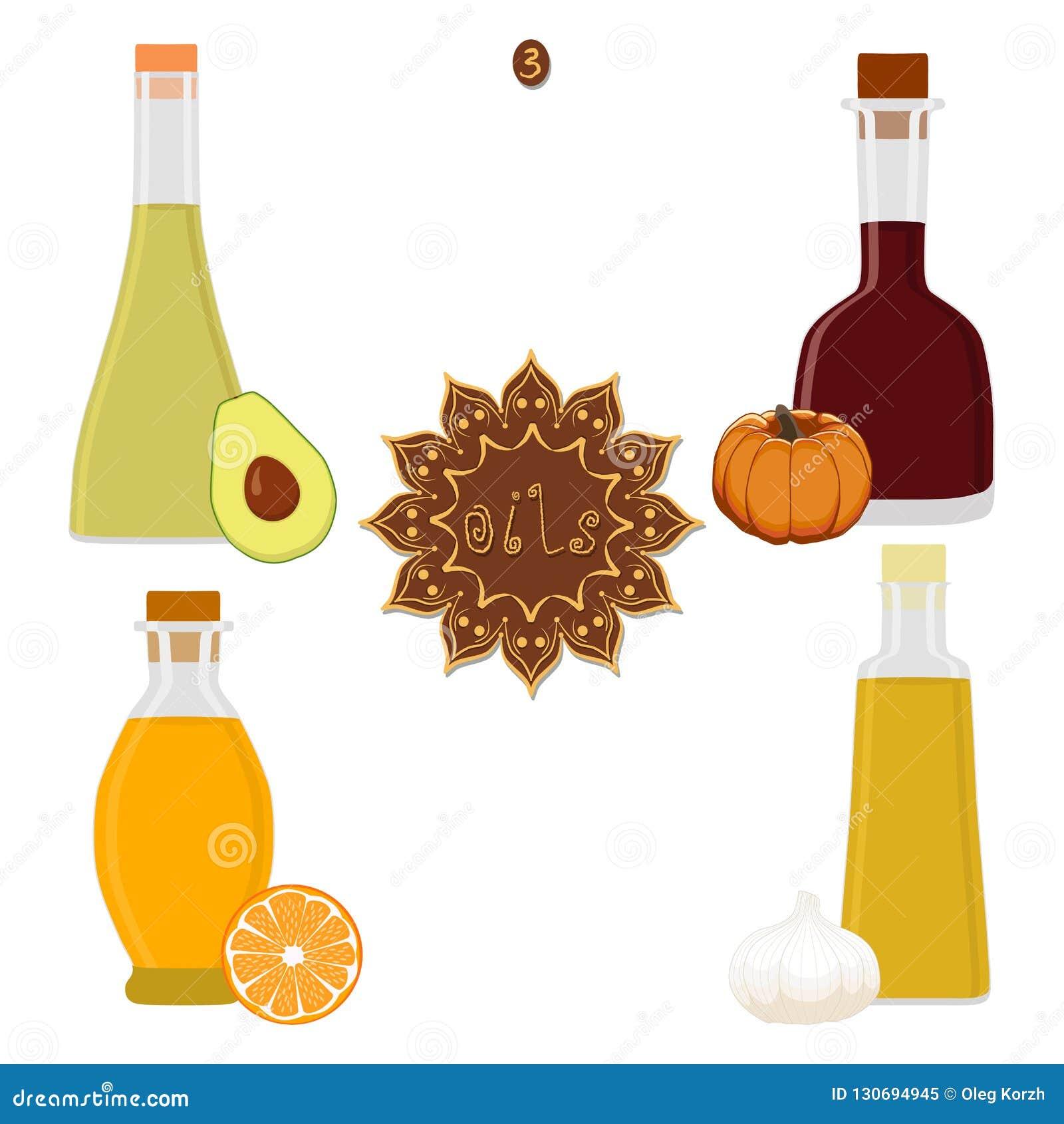 集合各种各样的瓶油的传染媒介例证