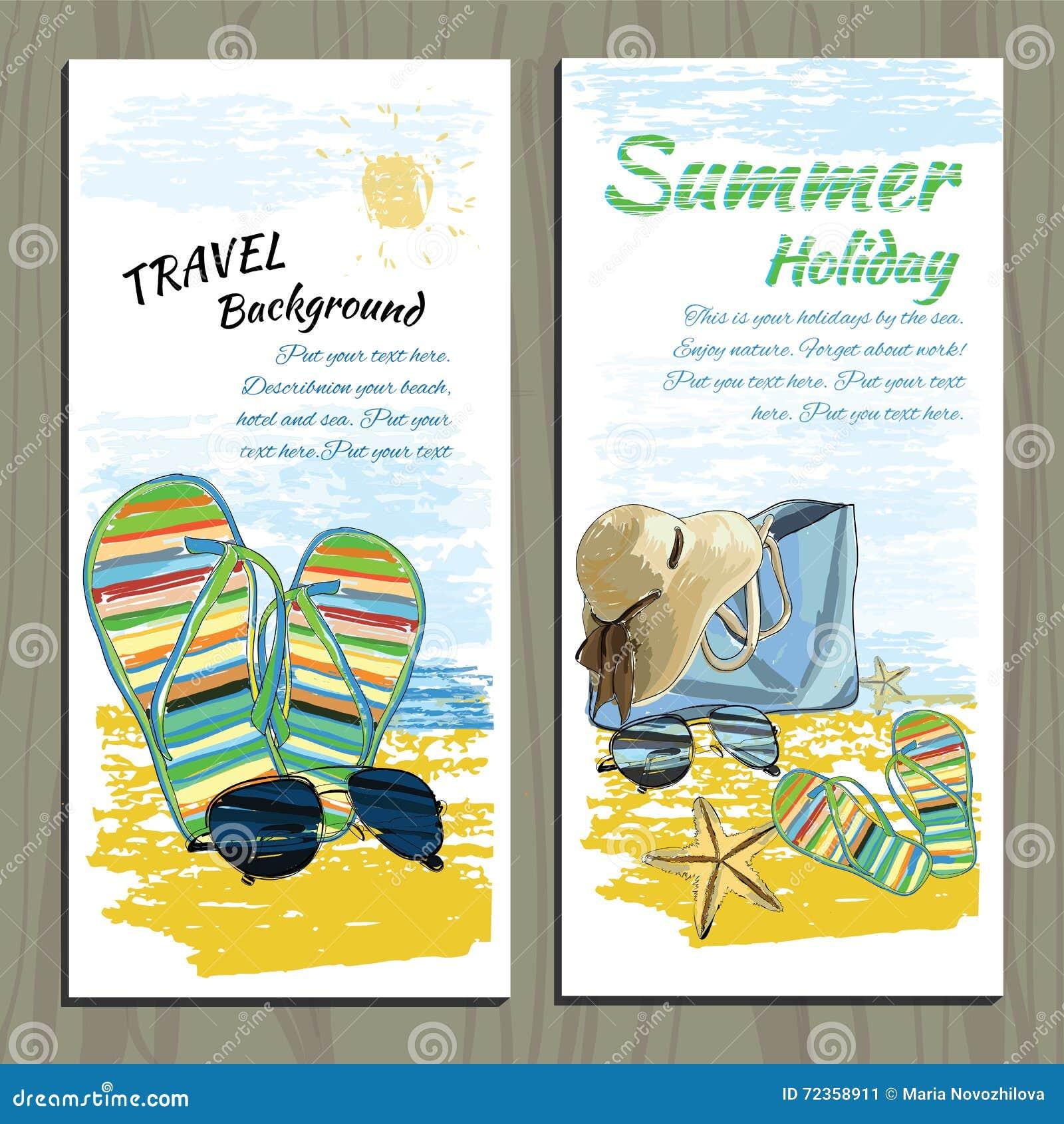 集合旅行五颜六色的热带设计 S的手拉的邀请