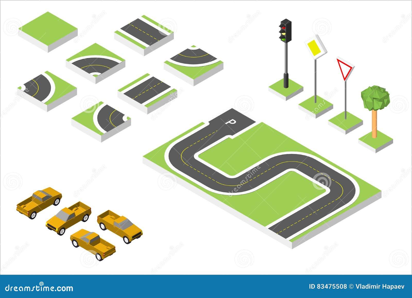 集合等量路和传染媒介汽车,管理共同的公路交通 在白色eps 10隔绝的传染媒介例证