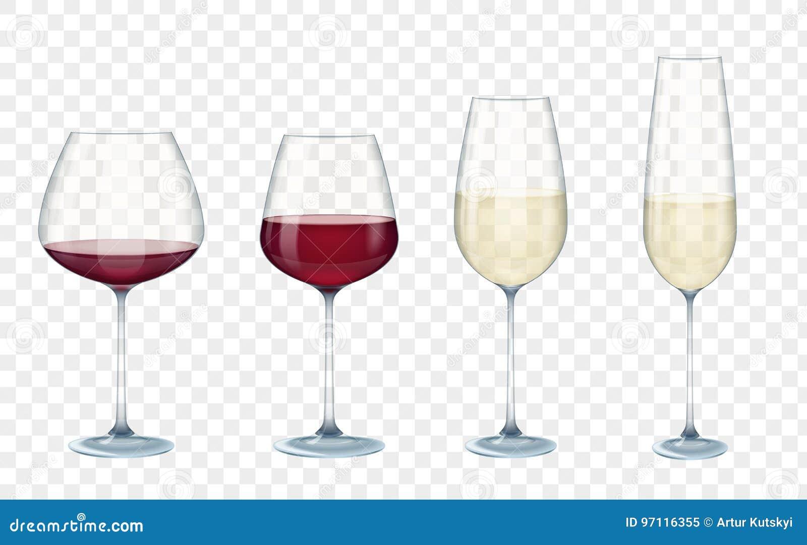 集合透明传染媒介酒杯用在阿尔法透明背景的白色和红葡萄酒 也corel凹道例证向量