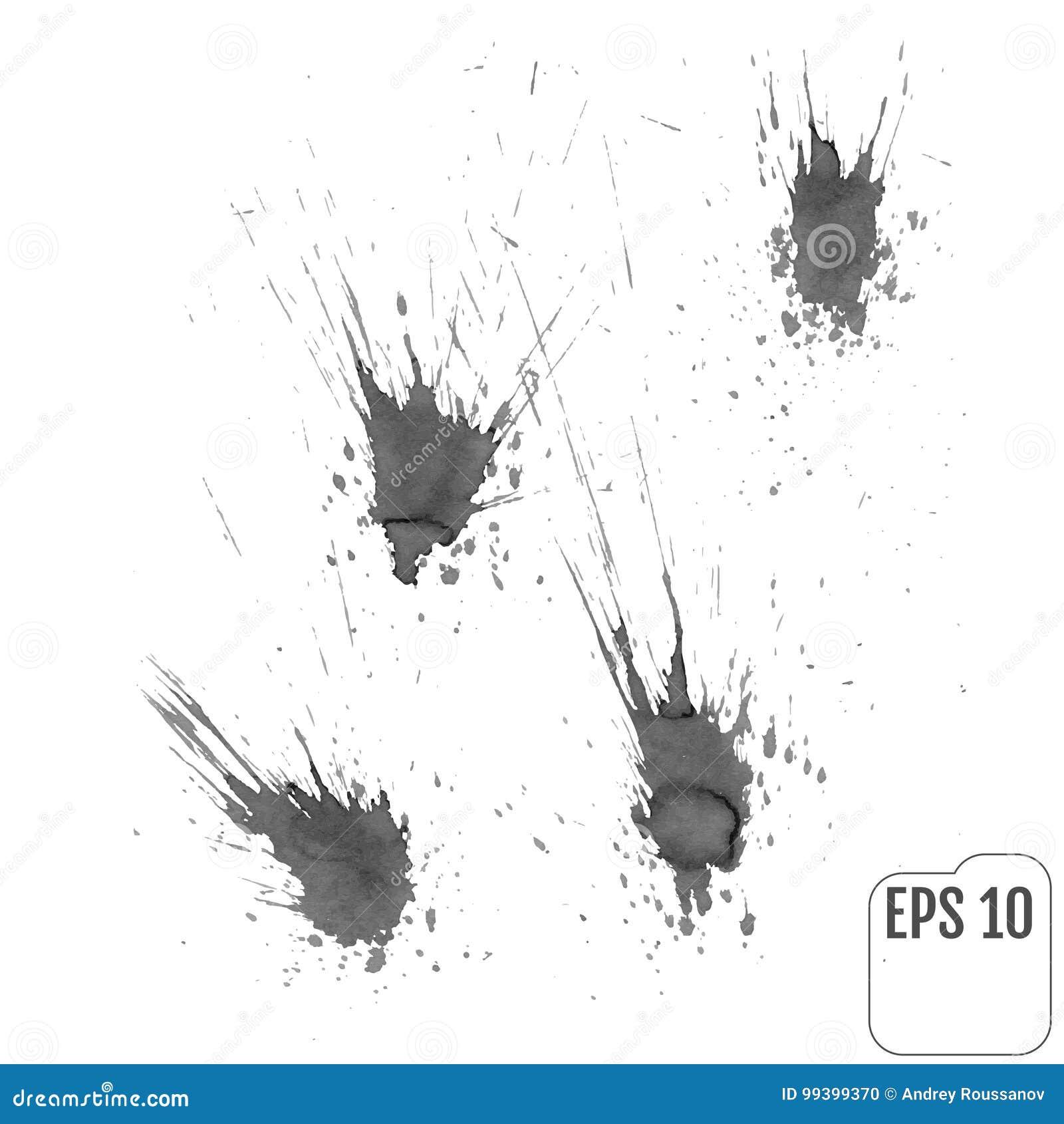 集合:在灰色口气的墨水污点