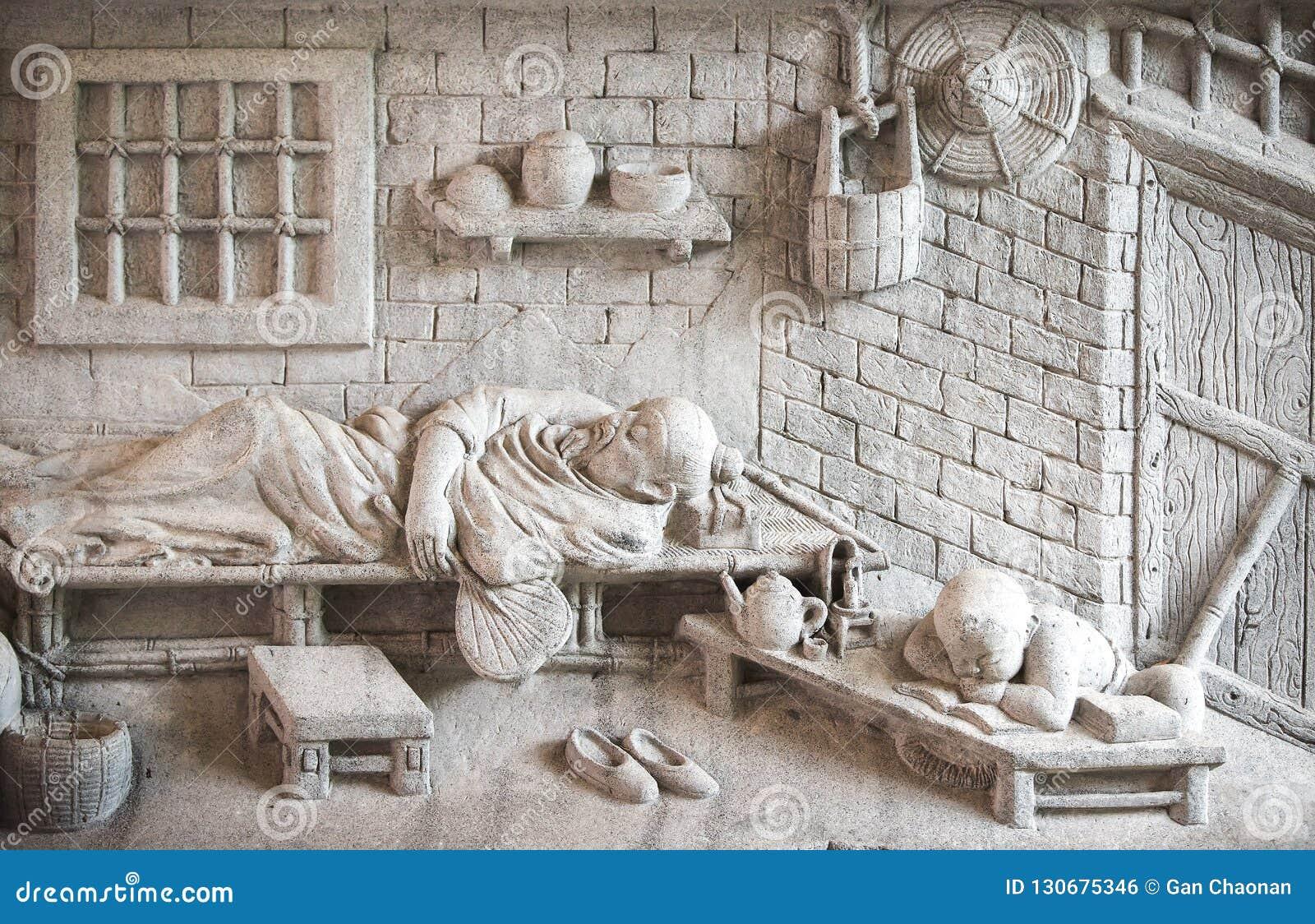 雕刻墙壁的长寿大理石的Shou西虢国中国神,