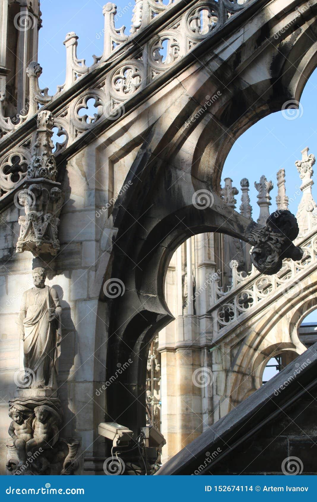 雕刻的装饰和米兰主教座堂的拱式扶垛