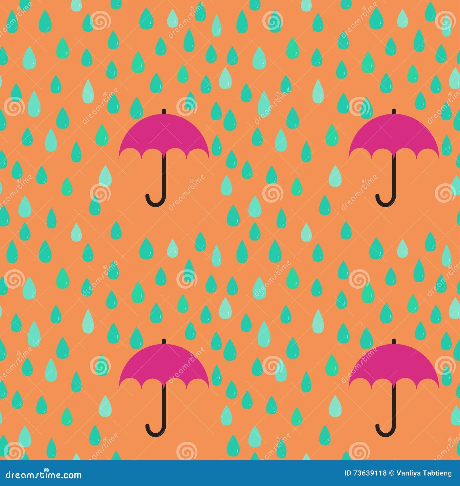 雨下落和伞无缝的样式背景;编辑可能的co
