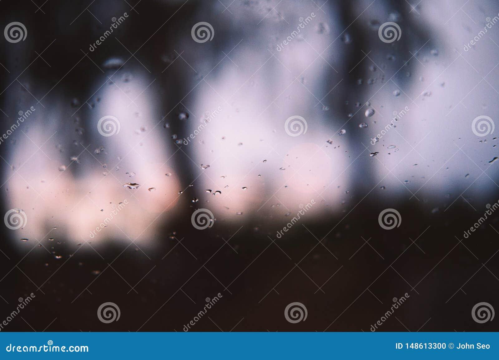 雨在窗口落下在黄昏