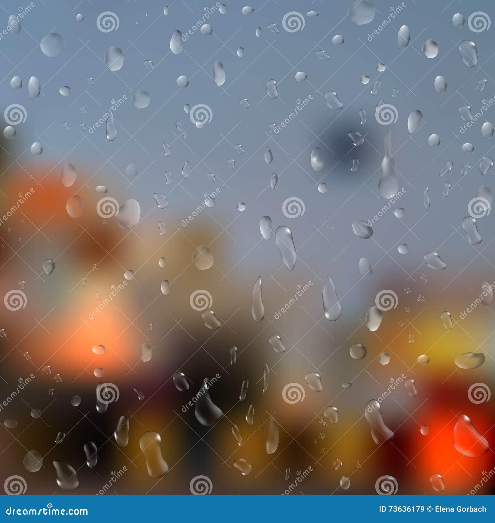 雨水滴在窗口的与抽象光 3d例证 向量