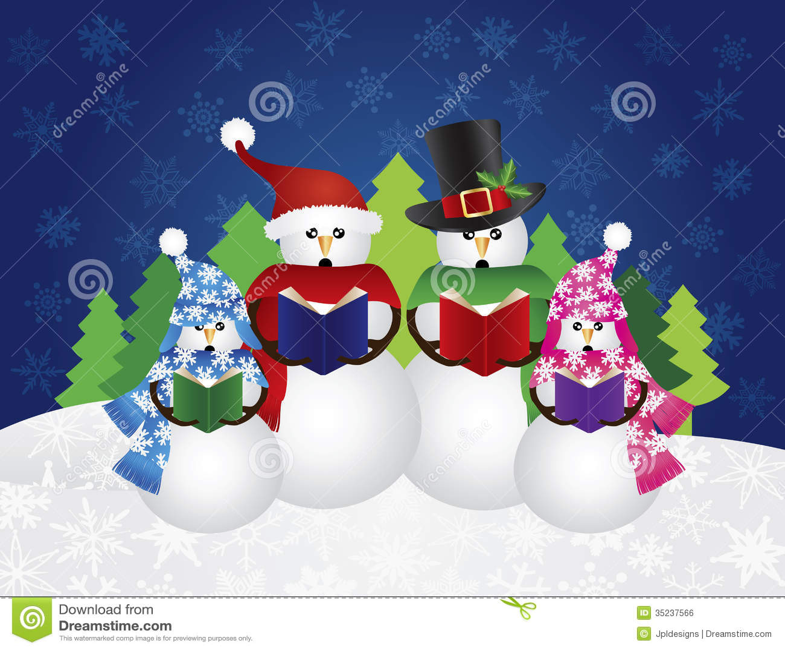 雪人圣诞节欢唱雪场面例证