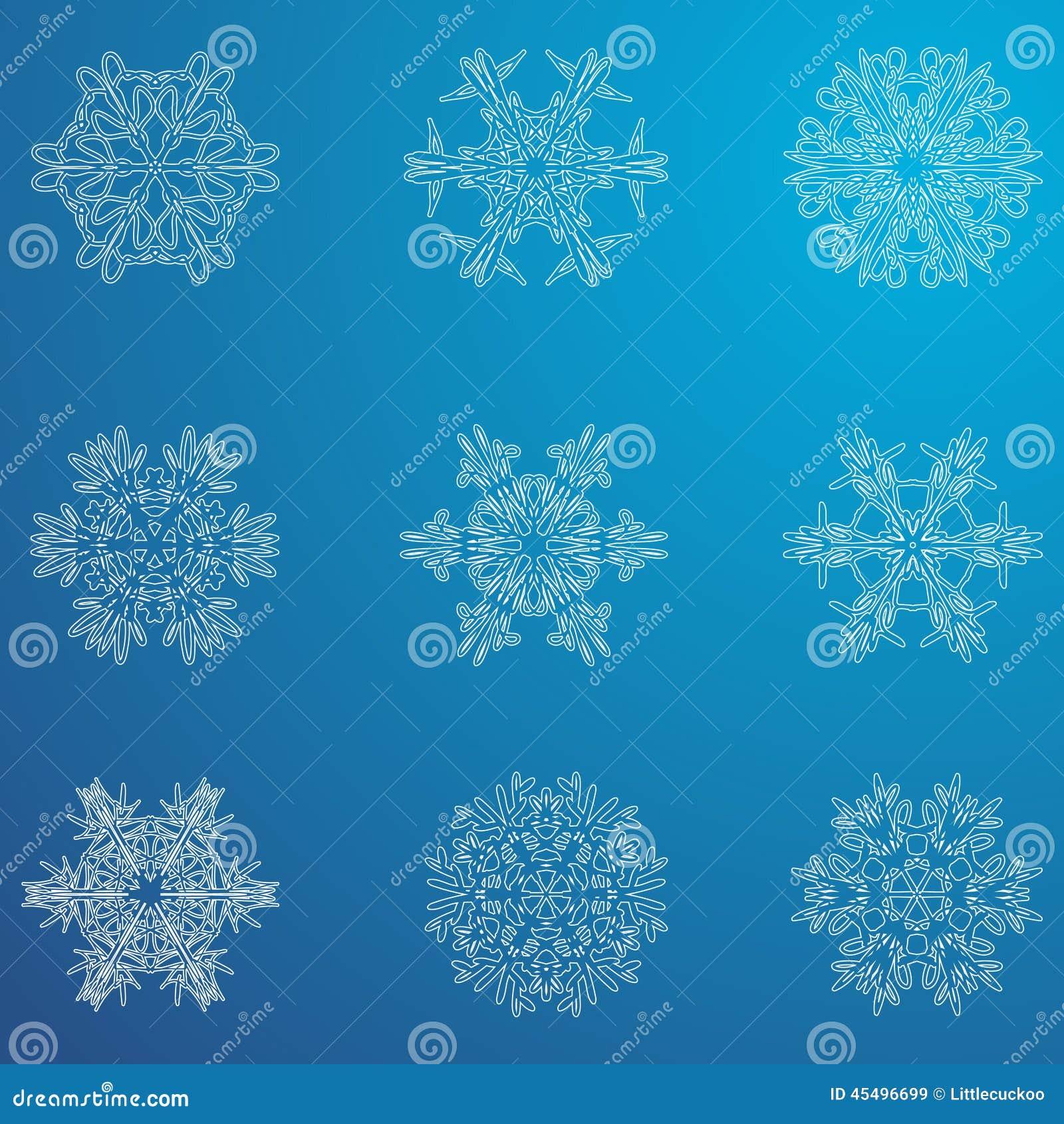 雪花象 背景能例证主题使用的冬天 不同的形状冬天雪花