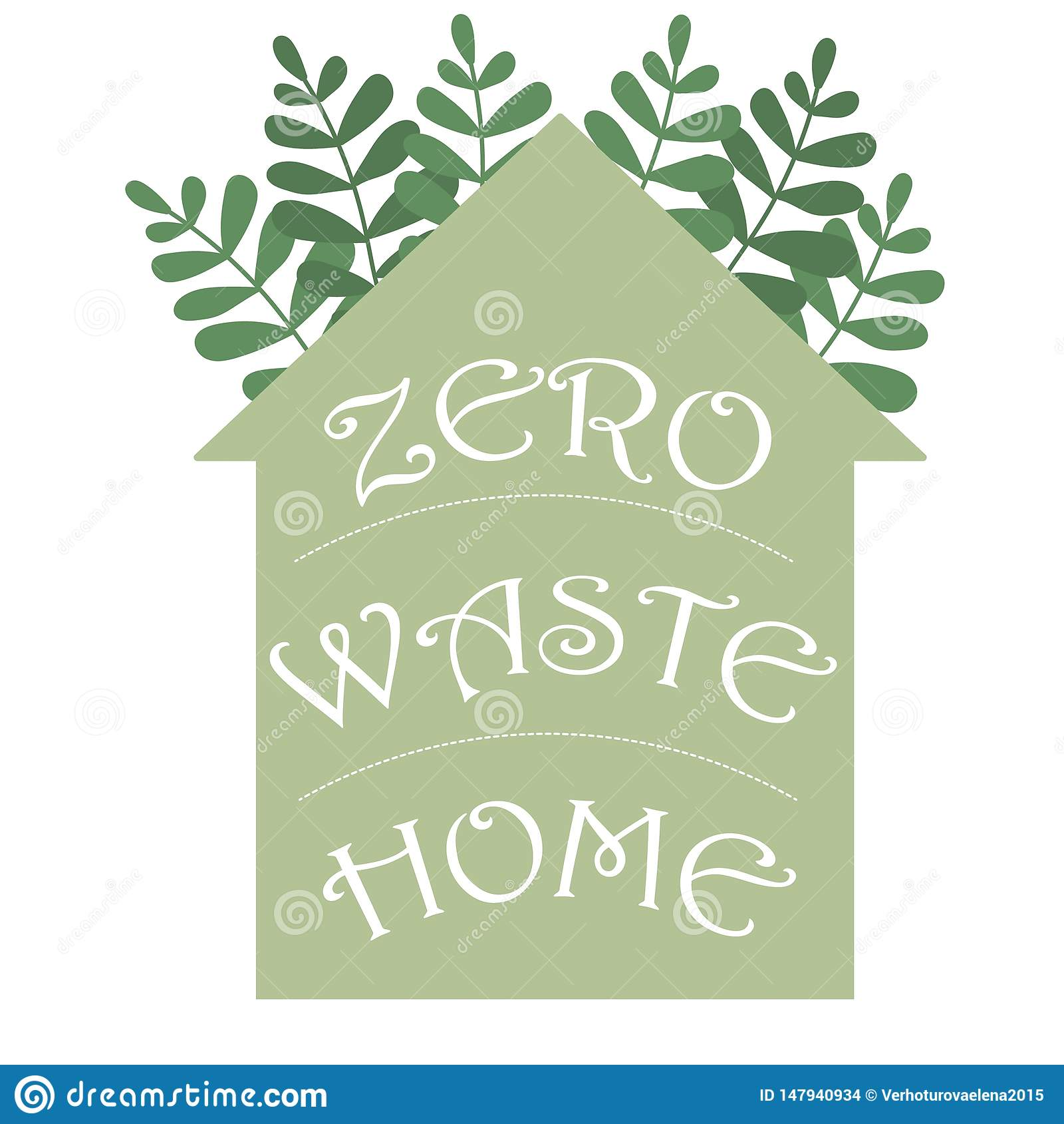 零的废家hadwritten在房子剪影的字法 传染媒介eco概念例证 保护象传染媒介