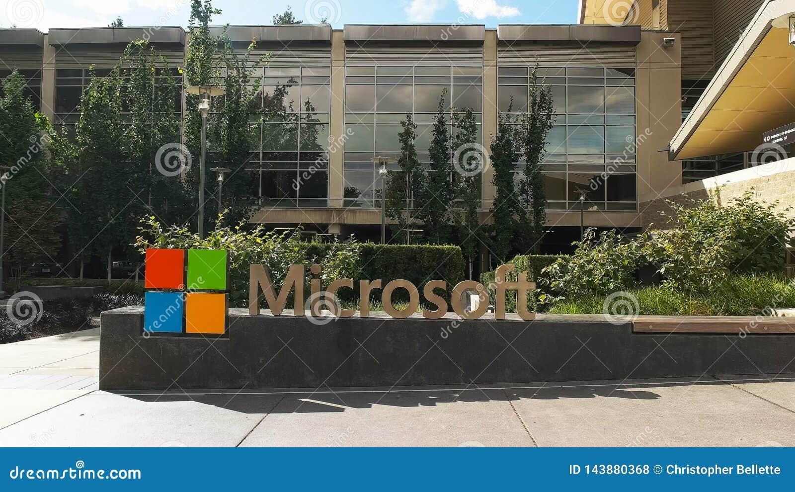 雷德蒙德,华盛顿,美国2015年9月3日:外视图微软雷德蒙德总部修造