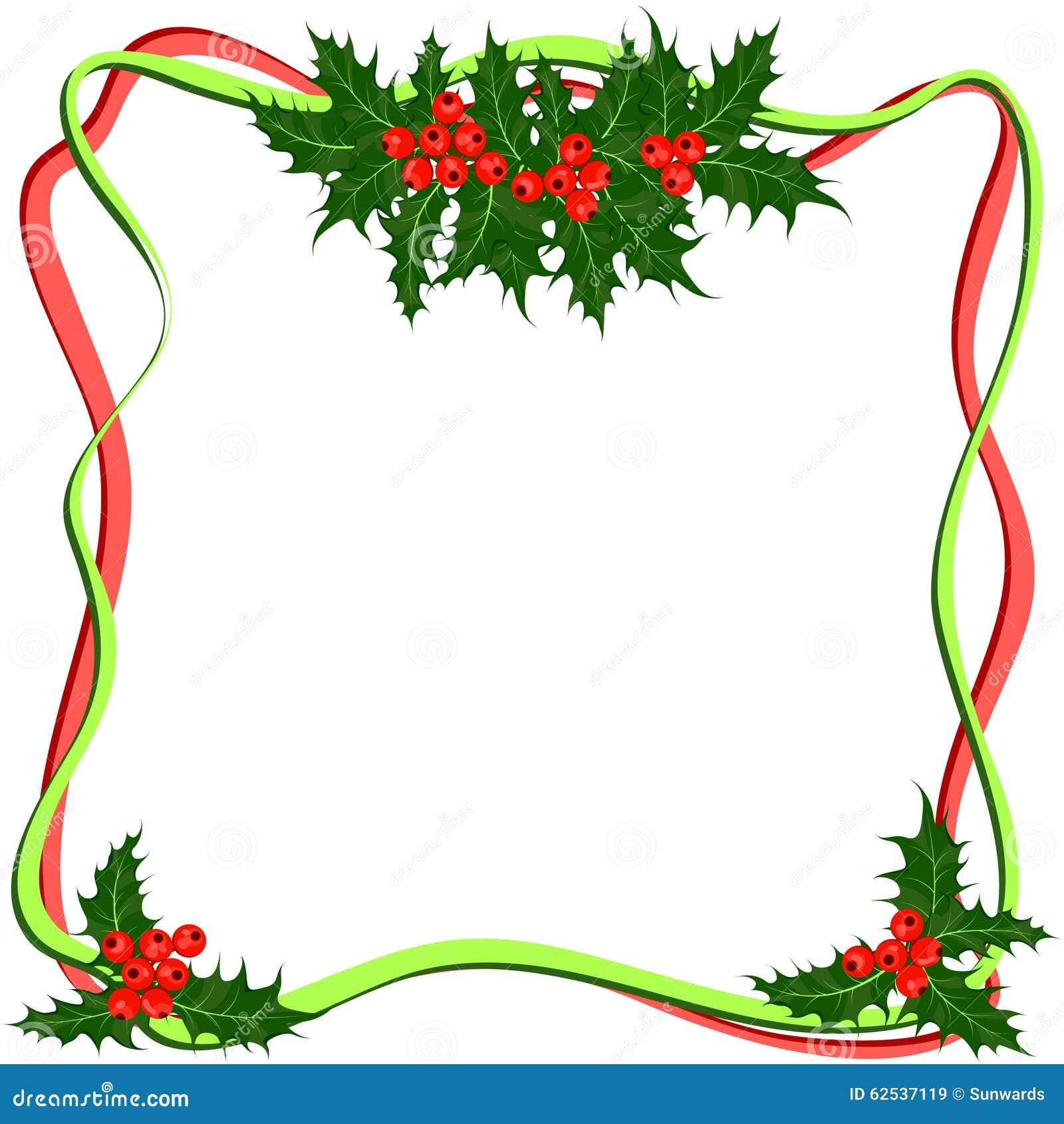 霍莉莓果框架 圣诞节标志传染媒介