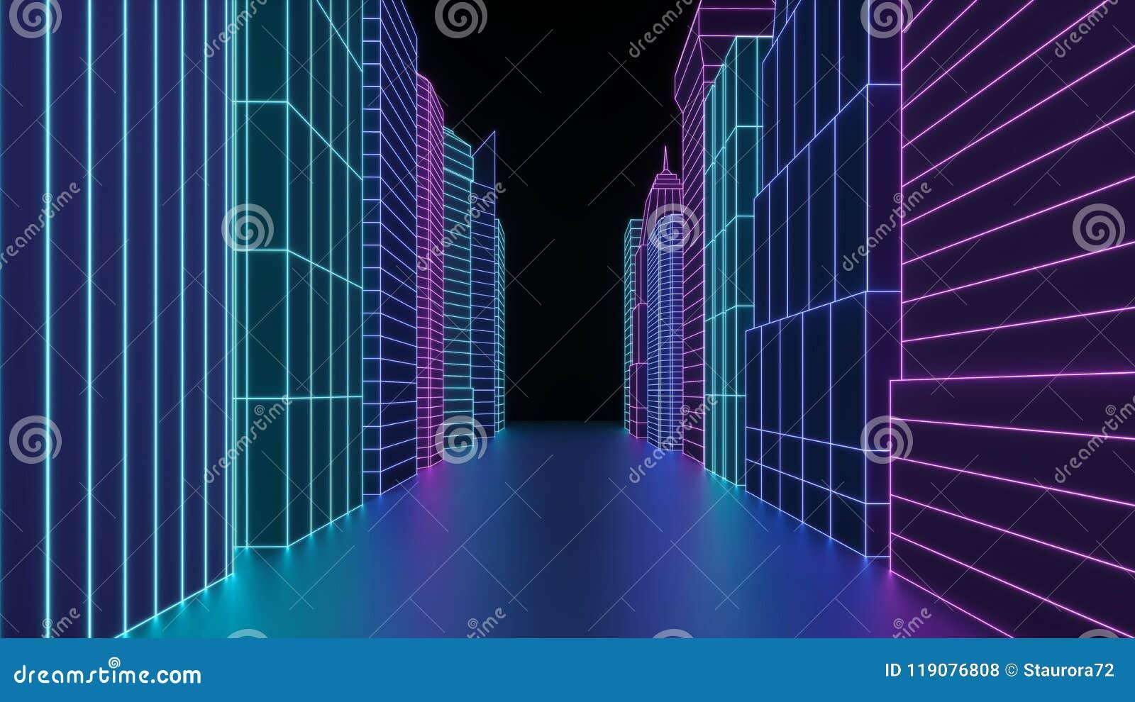 霓虹全息图城市摩天大楼 未来派回报3d在霓虹灯的城市街道 在网络世界的数字式都市风景