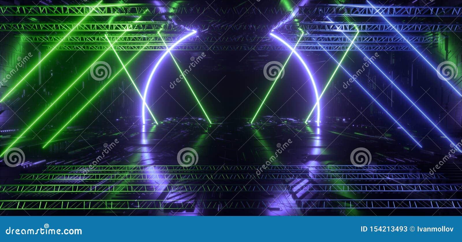 霓虹发光的未来派青绿的激光形状夜减速火箭的现代阶段建筑反射性芯片概要纹理