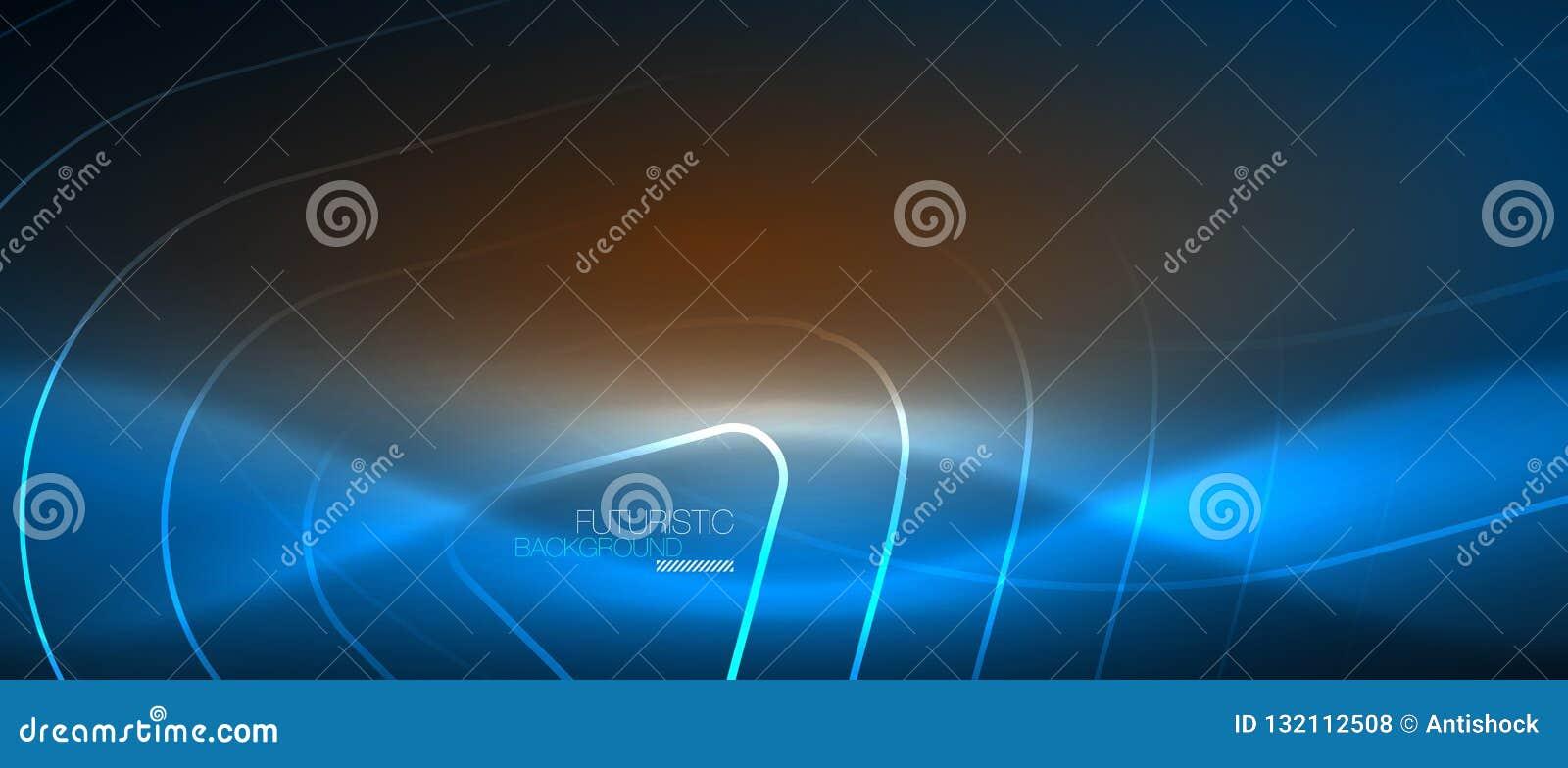 霓虹发光的techno线,与几何形状的高科技未来派抽象背景模板