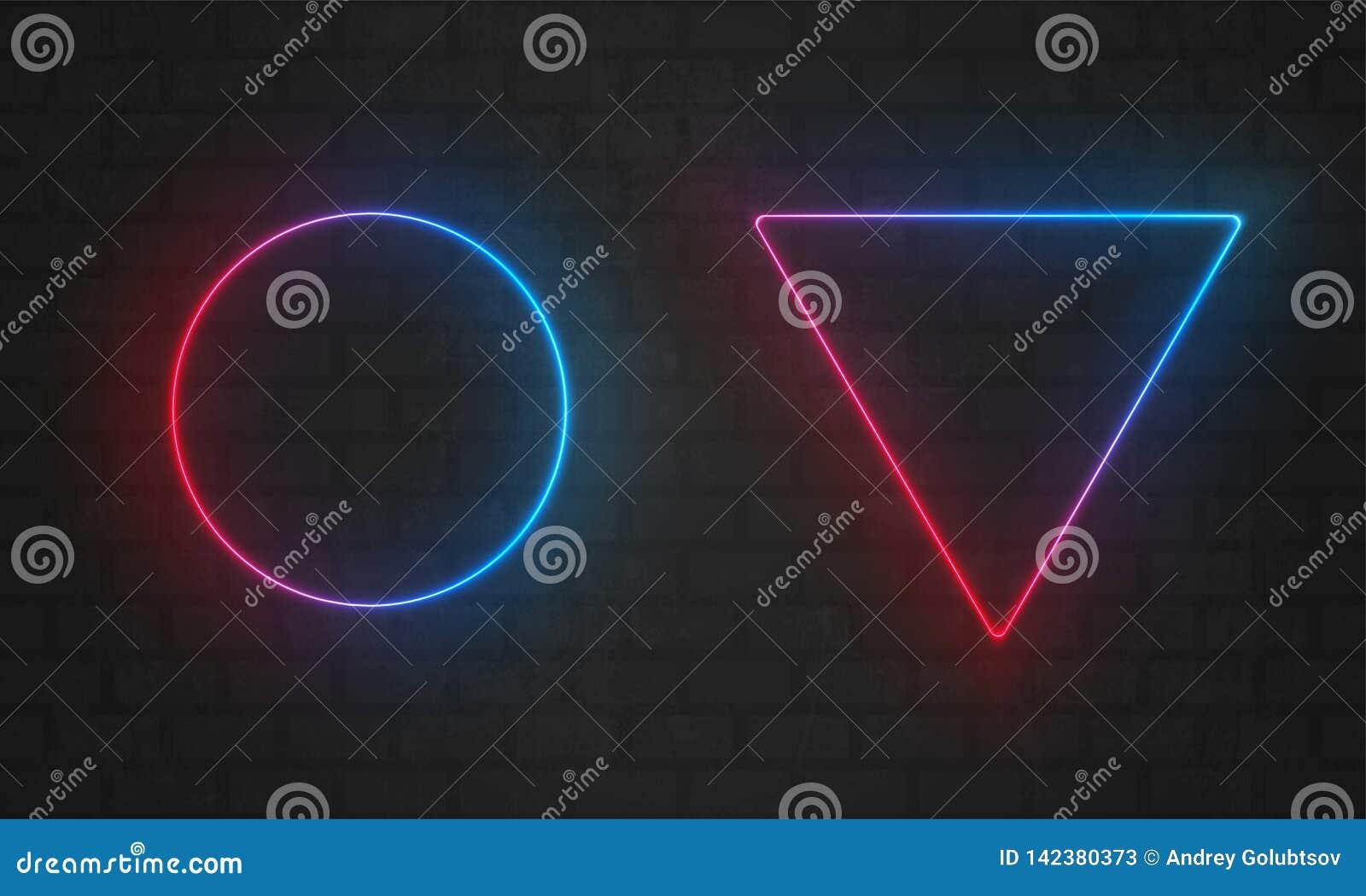 霓虹框架 传染媒介线电灯泡,三角,圈子霓虹框架边界