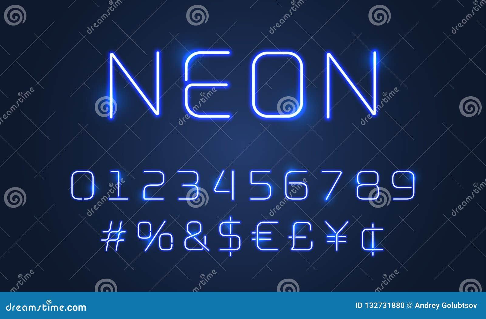 霓虹灯字体字母表数字,特殊符号 导航蓝色氖灯发光与hashtag标志的字母表字体
