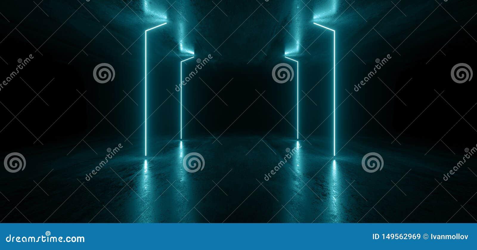 霓虹灯线图表发光的蓝色充满活力的真正科学幻想小说未来派隧道演播室阶段建筑车库指挥台太空飞船