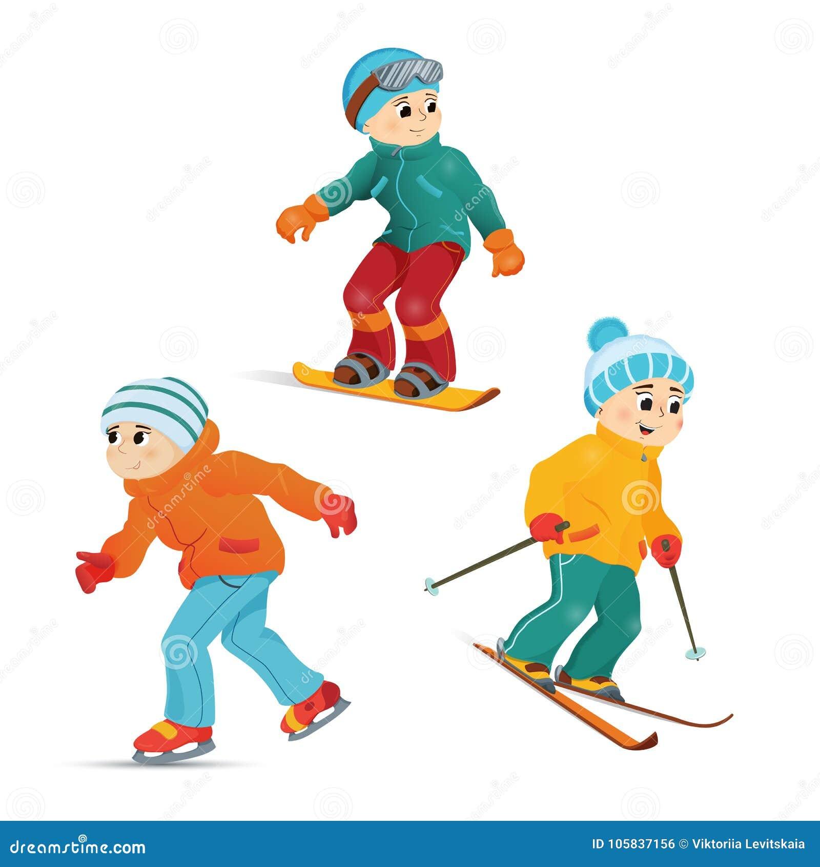 青少年男孩滑雪,雪板运动和滑冰图片