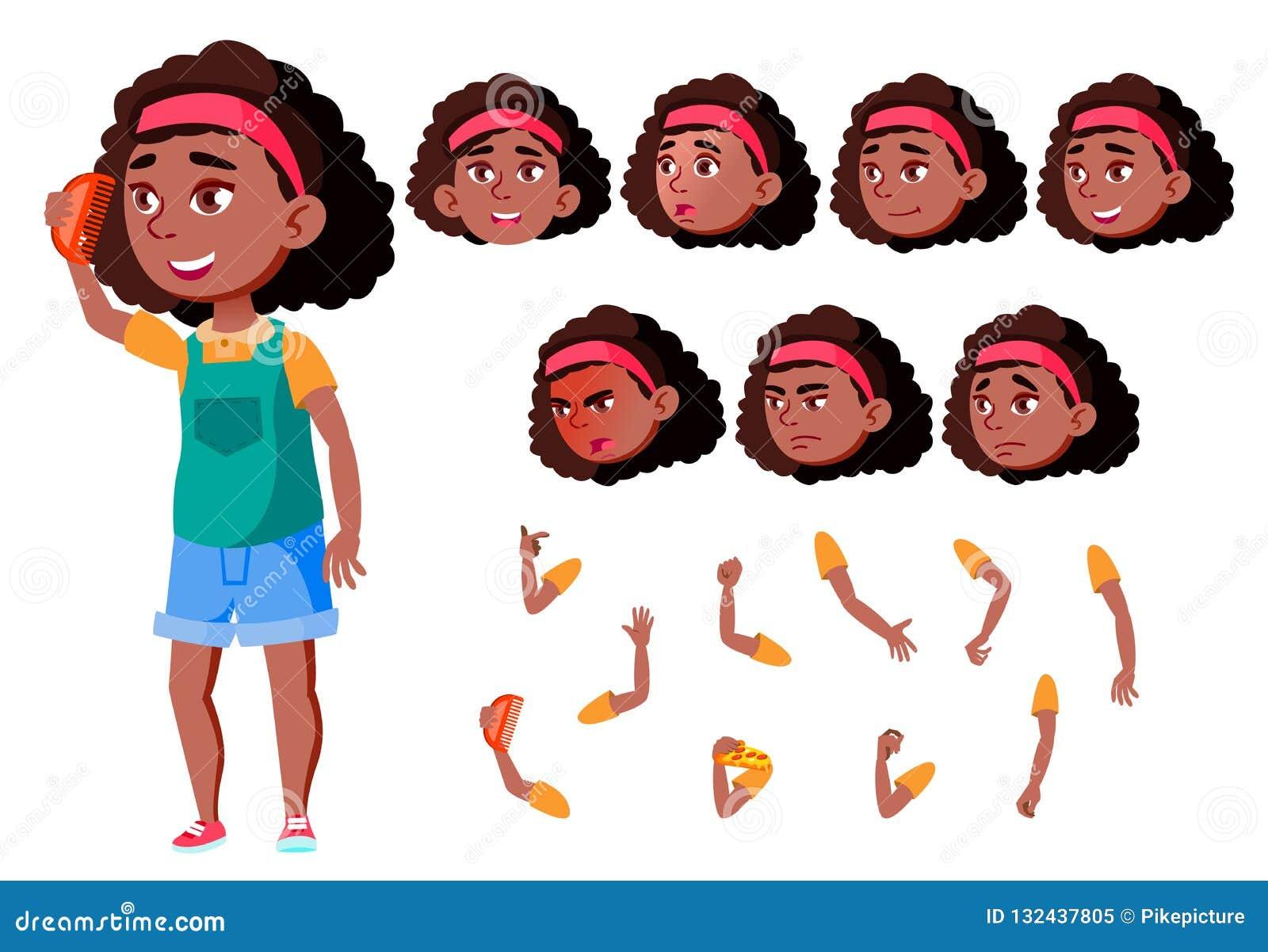青少年的女孩传染媒介 投反对票 美国黑人 少年 逗人喜爱,可笑 喜悦 面孔情感,各种各样的姿态 动画创作