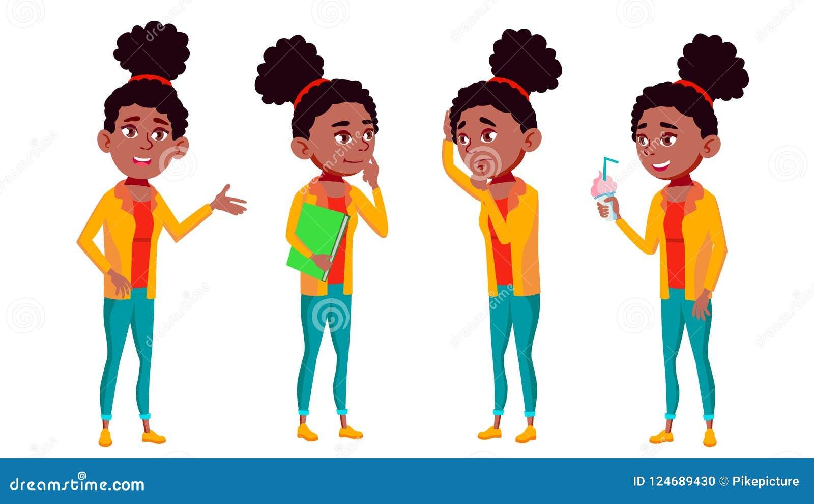 青少年的女孩姿势被设置的传染媒介 乐趣,快乐 投反对票 美国黑人 对网,海报,小册子设计 被隔绝的动画片