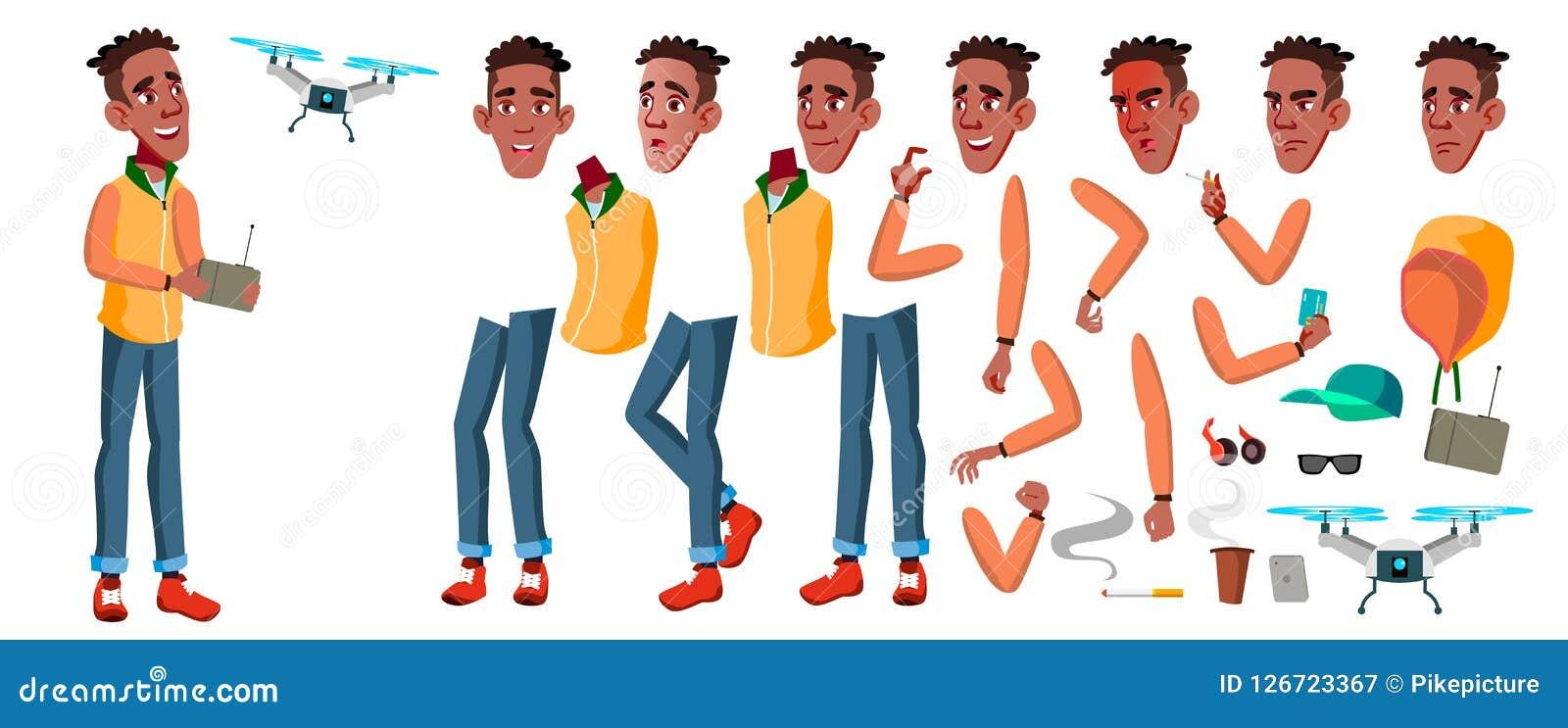 青少年的男孩传染媒介 动画创作集合 投反对票 美国黑人 面孔情感,姿态 成人人员 偶然 茴香酒