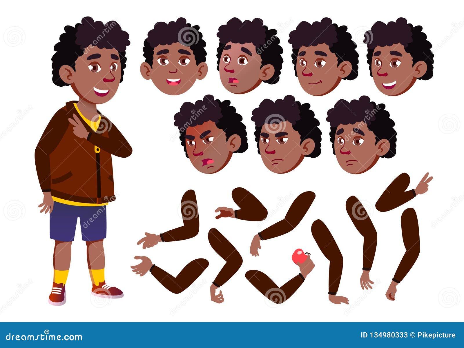 青少年的男孩传染媒介 少年 投反对票 美国黑人 相当,青年时期 面孔情感,各种各样的姿态 动画创作集合