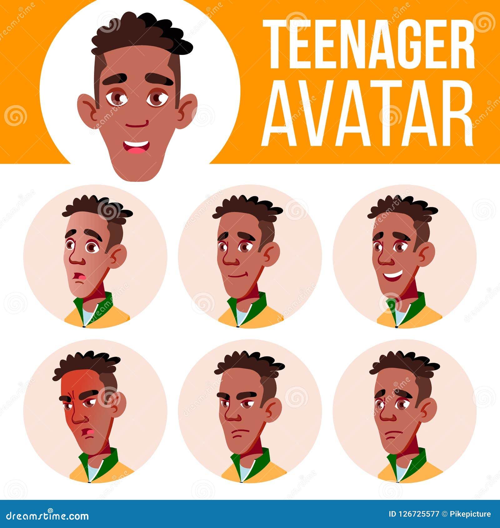 青少年的男孩具体化集合传染媒介 投反对票 美国黑人 面对情感 情感 休闲,微笑 动画片顶头例证