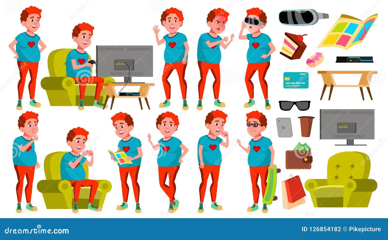 青少年的男孩姿势被设置的传染媒介 顶头红色 肥胖游戏玩家 乐趣,快乐 对网,海报,小册子设计 被隔绝的动画片
