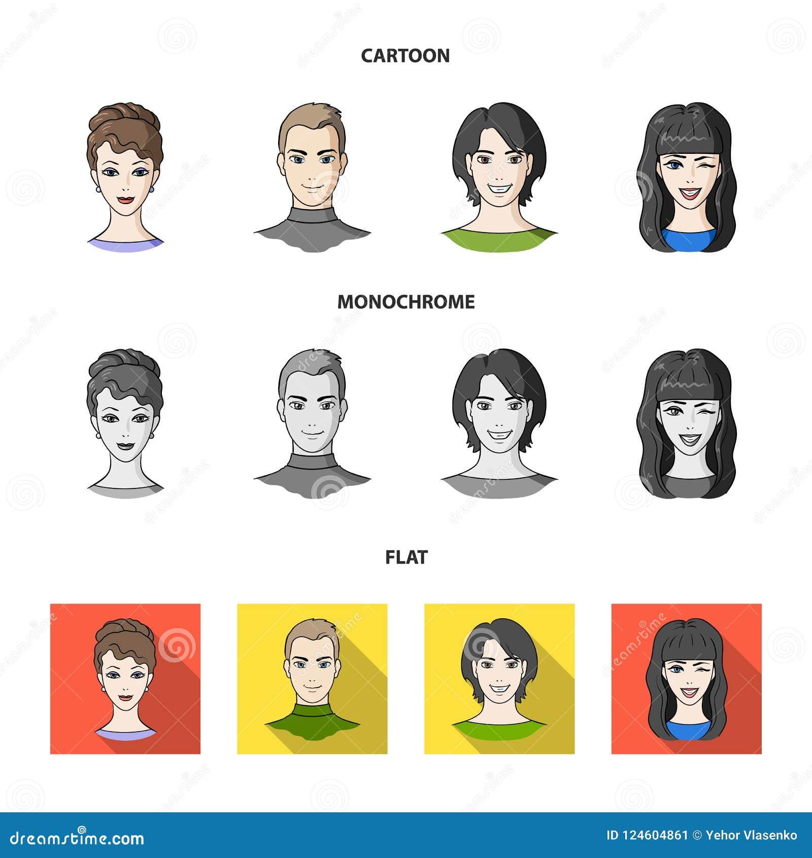 青年人不同的神色  在动画片,平,单色样式传染媒介标志的具体化和面孔集合汇集象