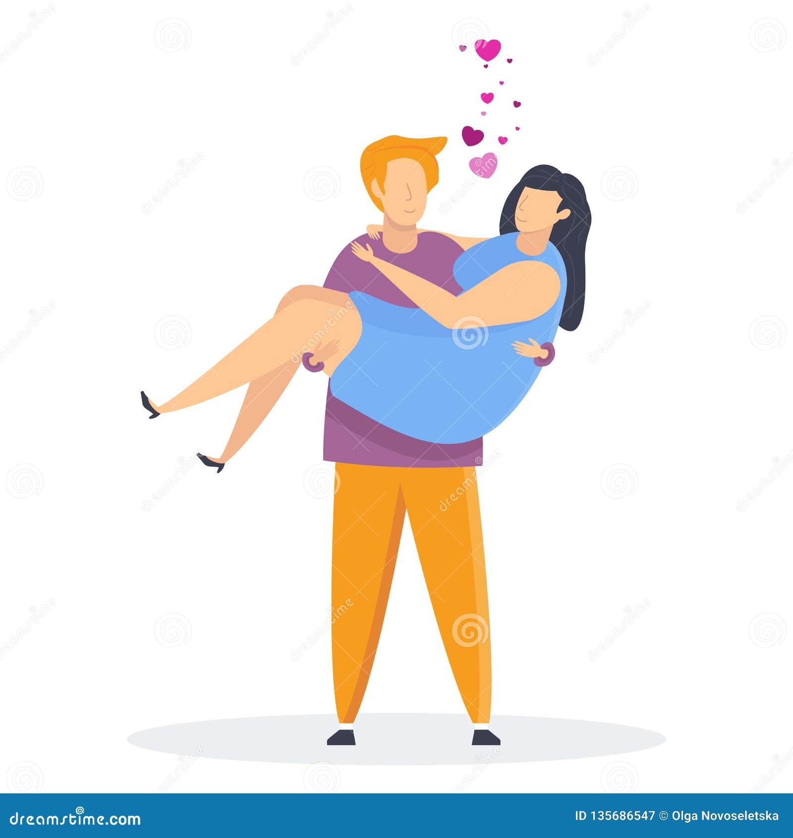 青年人愉快的夫妇爱的 字符为情人节