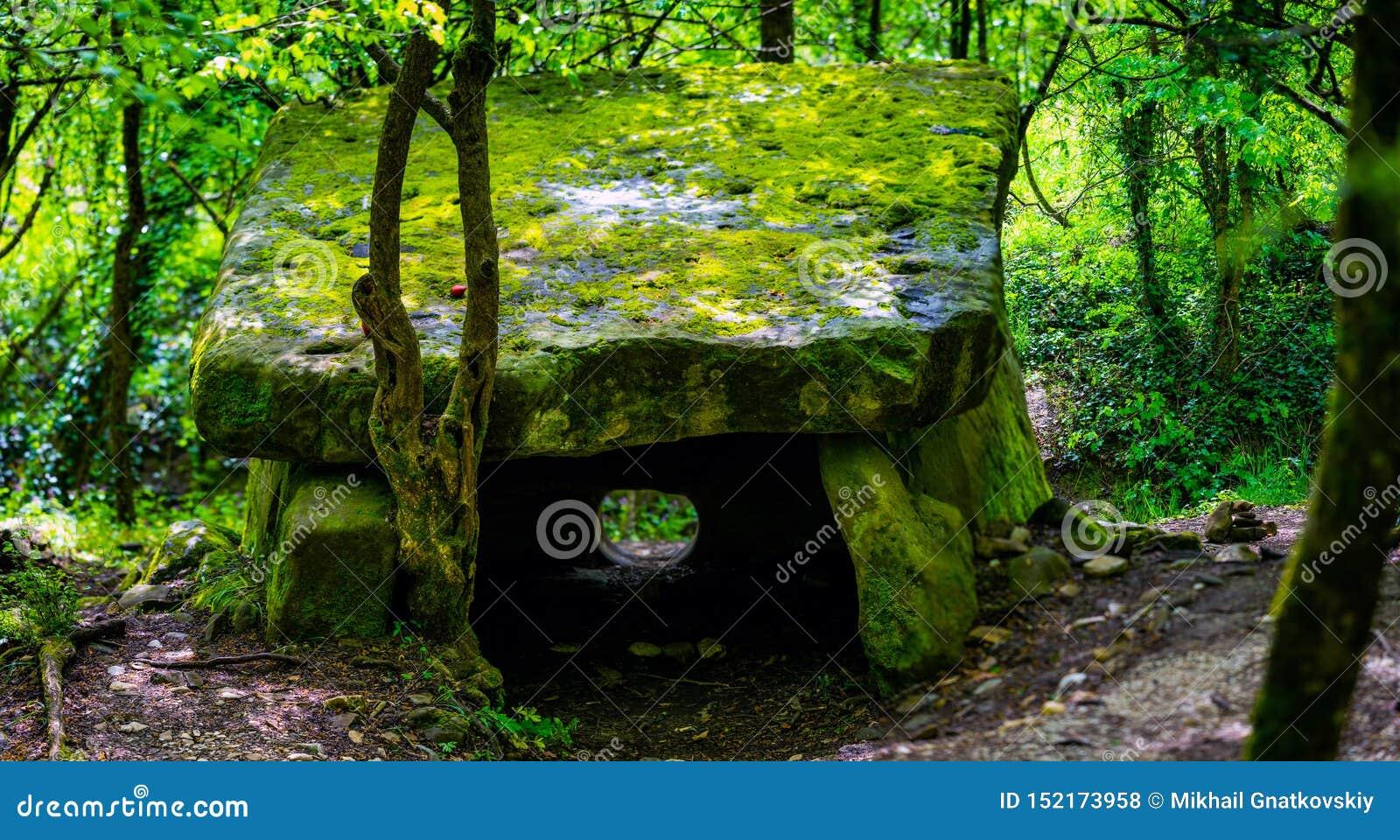 青苔或桌石头盖的一块不可思议的都尔门在俄国山森林里