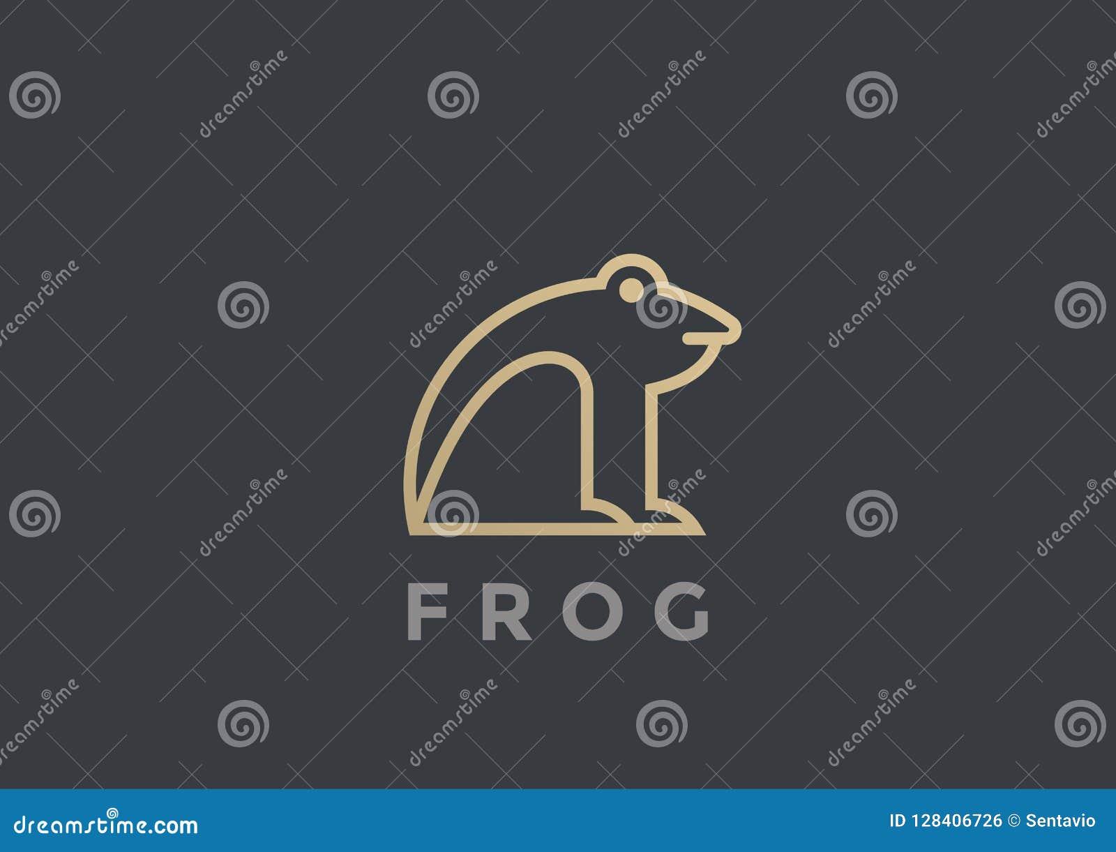 青蛙商标传染媒介设计模板几何线性