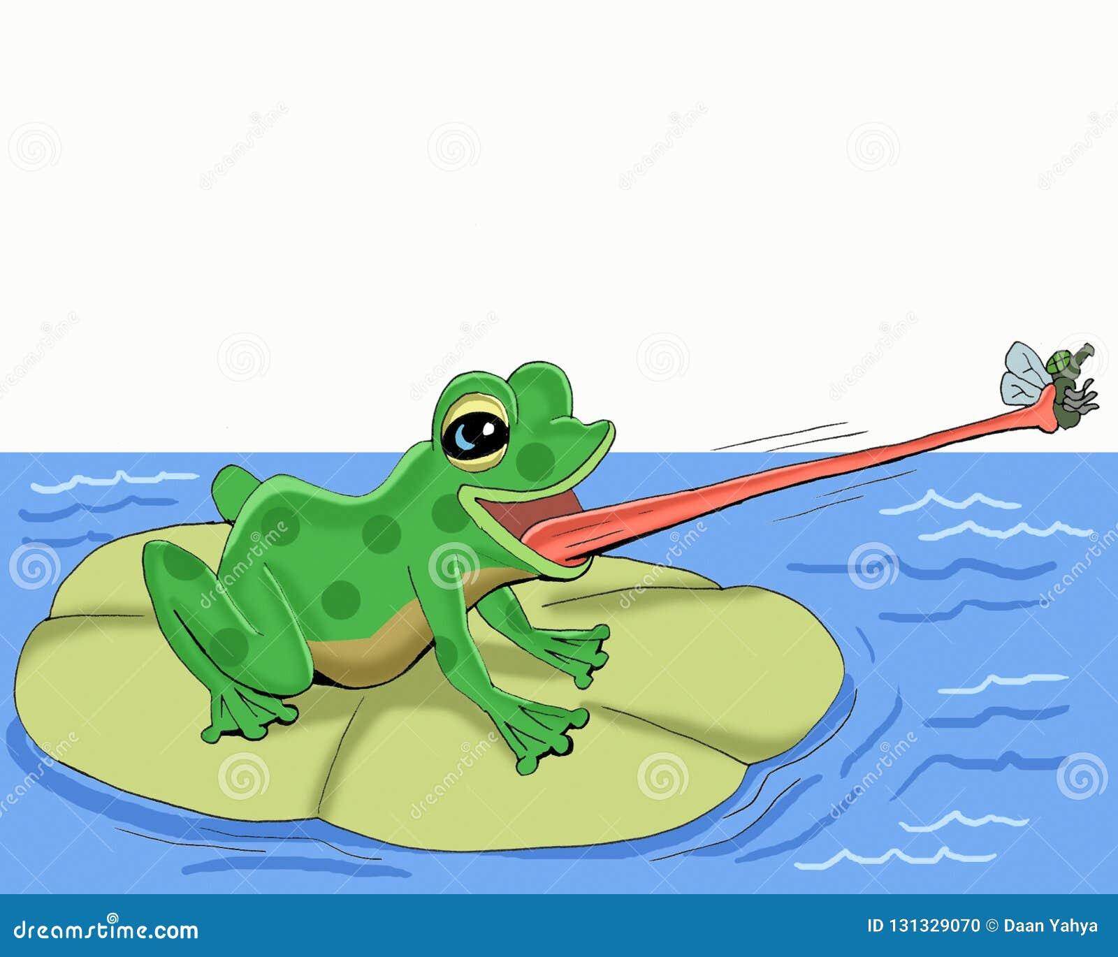 青蛙捉住与他的tonguecartoon的飞行