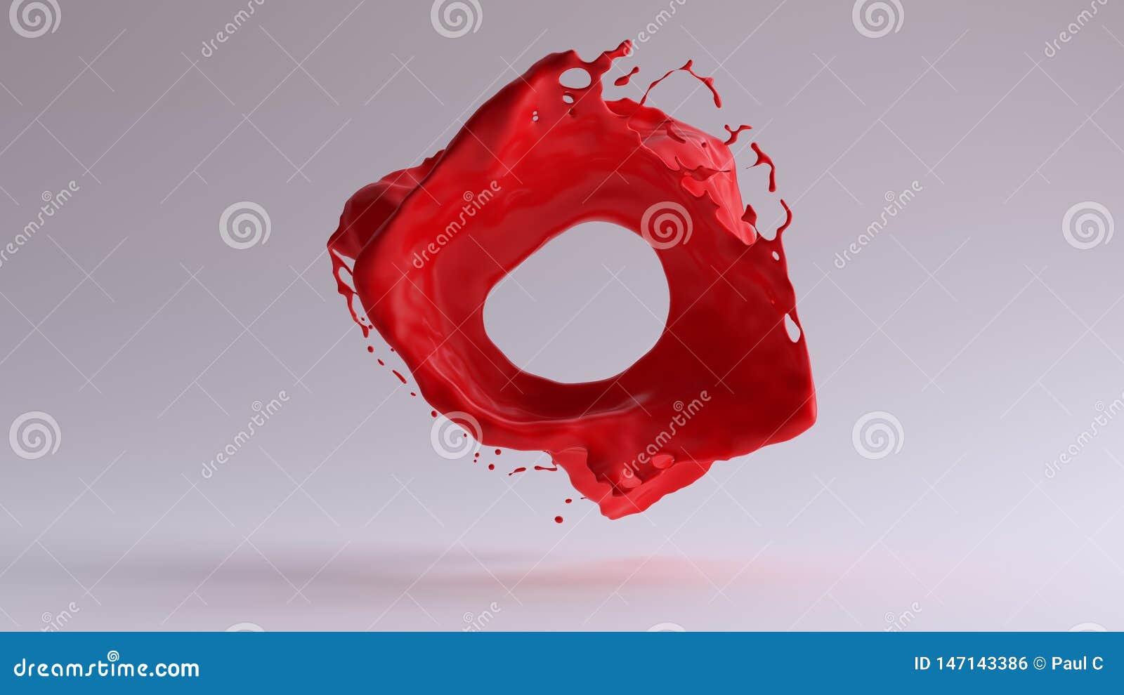 静止画面红色油漆飞溅