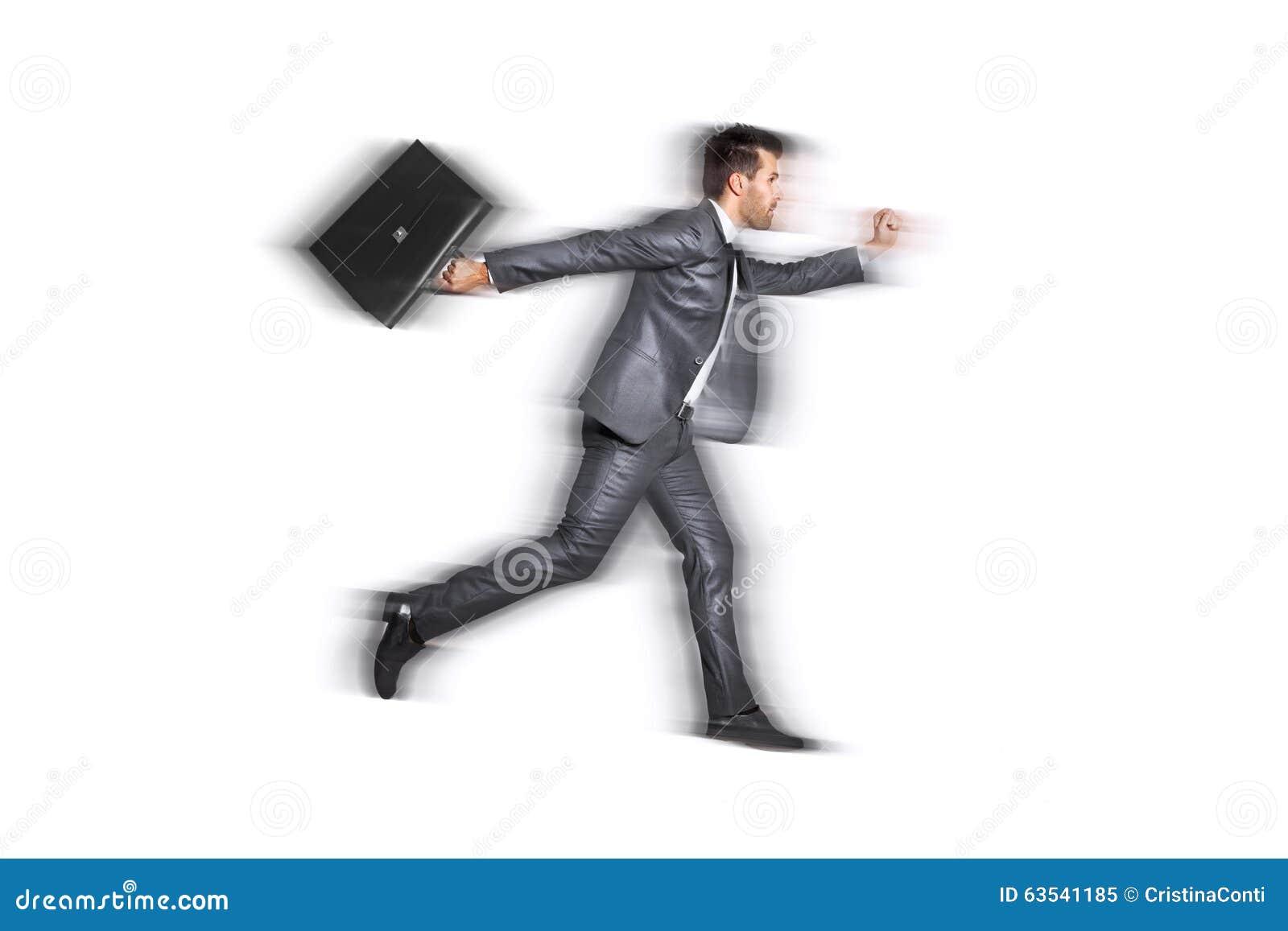 非常快速地跑为工作的商人