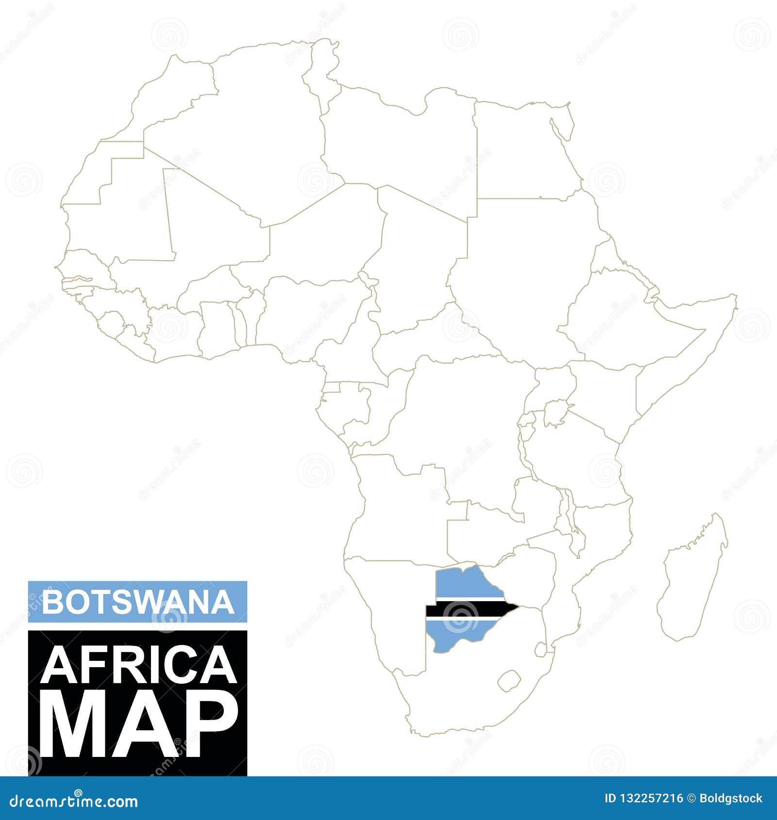 非洲与被突出的博茨瓦纳的等高线图