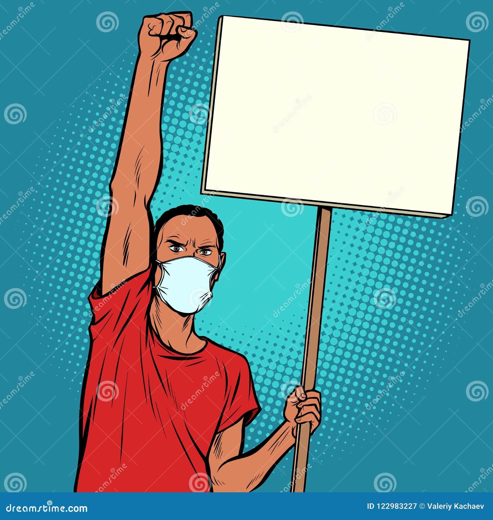 非洲人抗议在面具