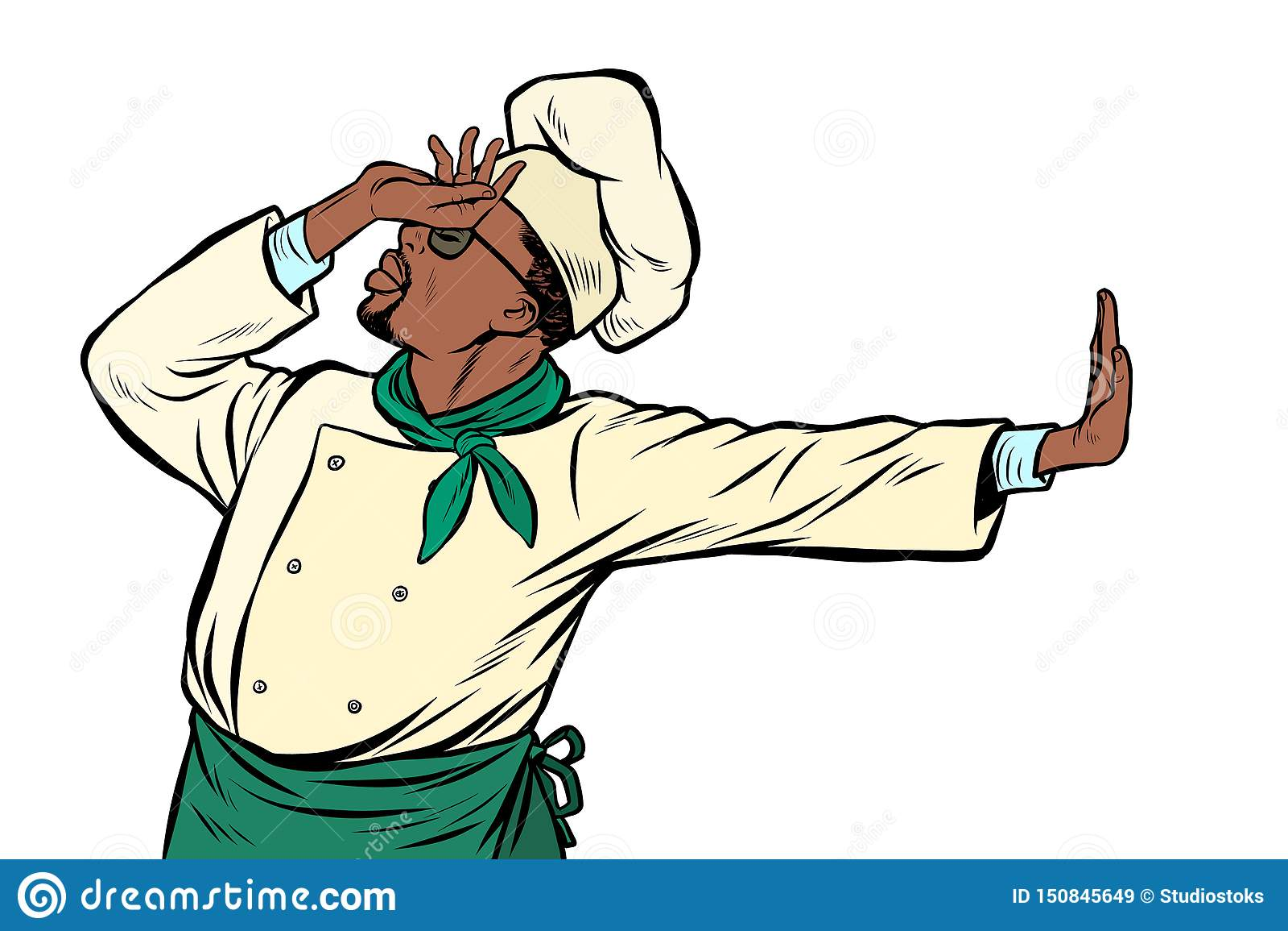 非洲厨师厨师,羞辱姿态  否认不